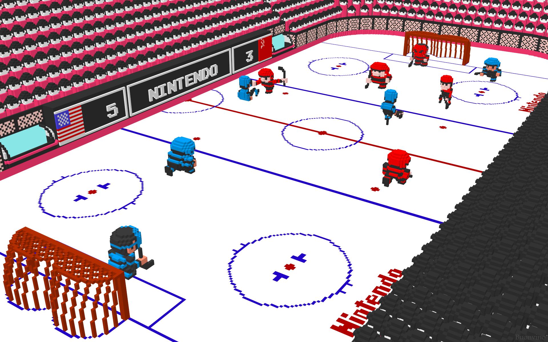 General 1920x1200 pixel art 8-bit ice hockey digital art Nintendo