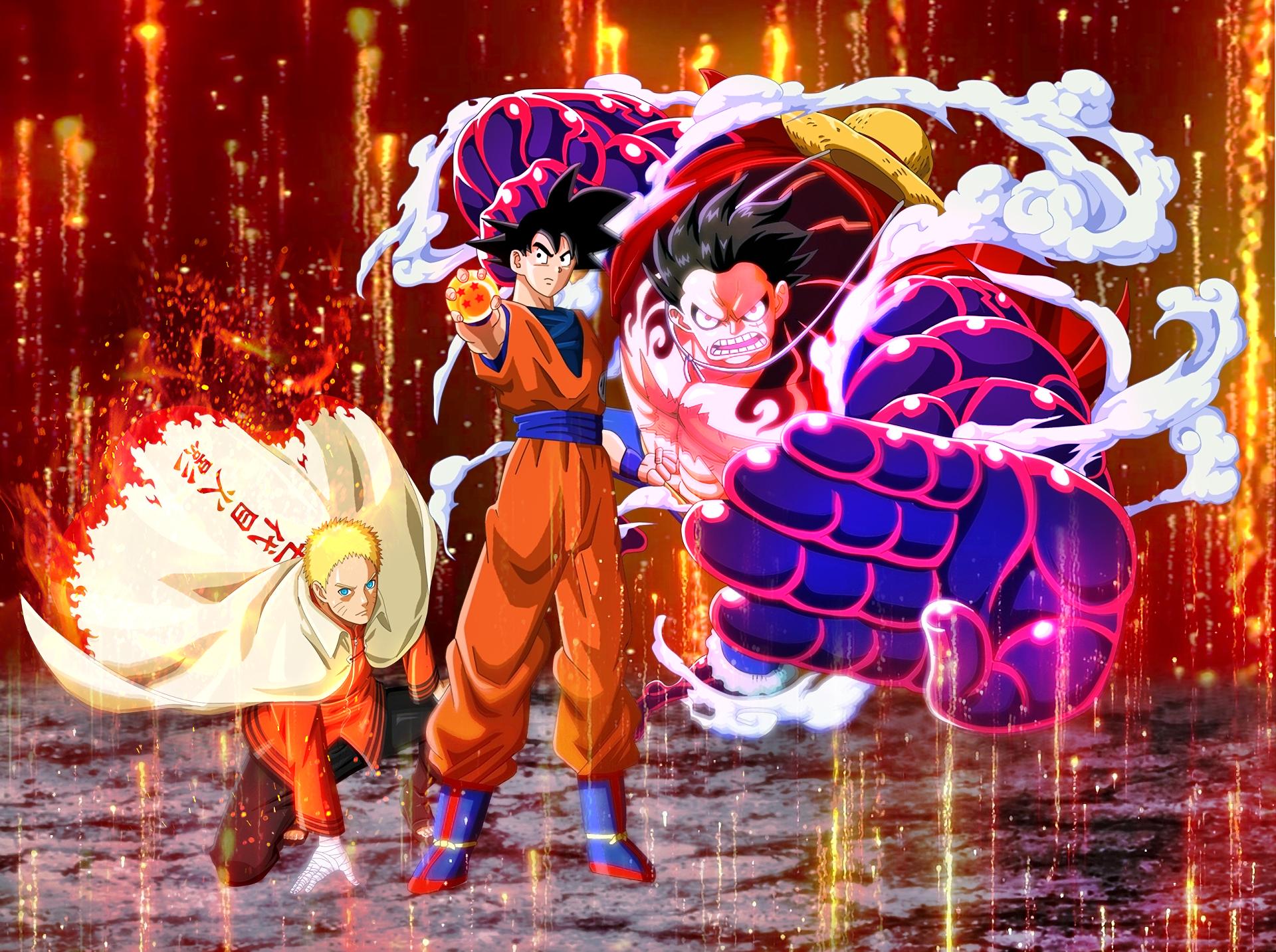 Anime 1920x1433 crossover Son Goku Monkey D. Luffy Uzumaki Naruto Boruto: Naruto Next Generations One Piece Dragon Ball Jump Force