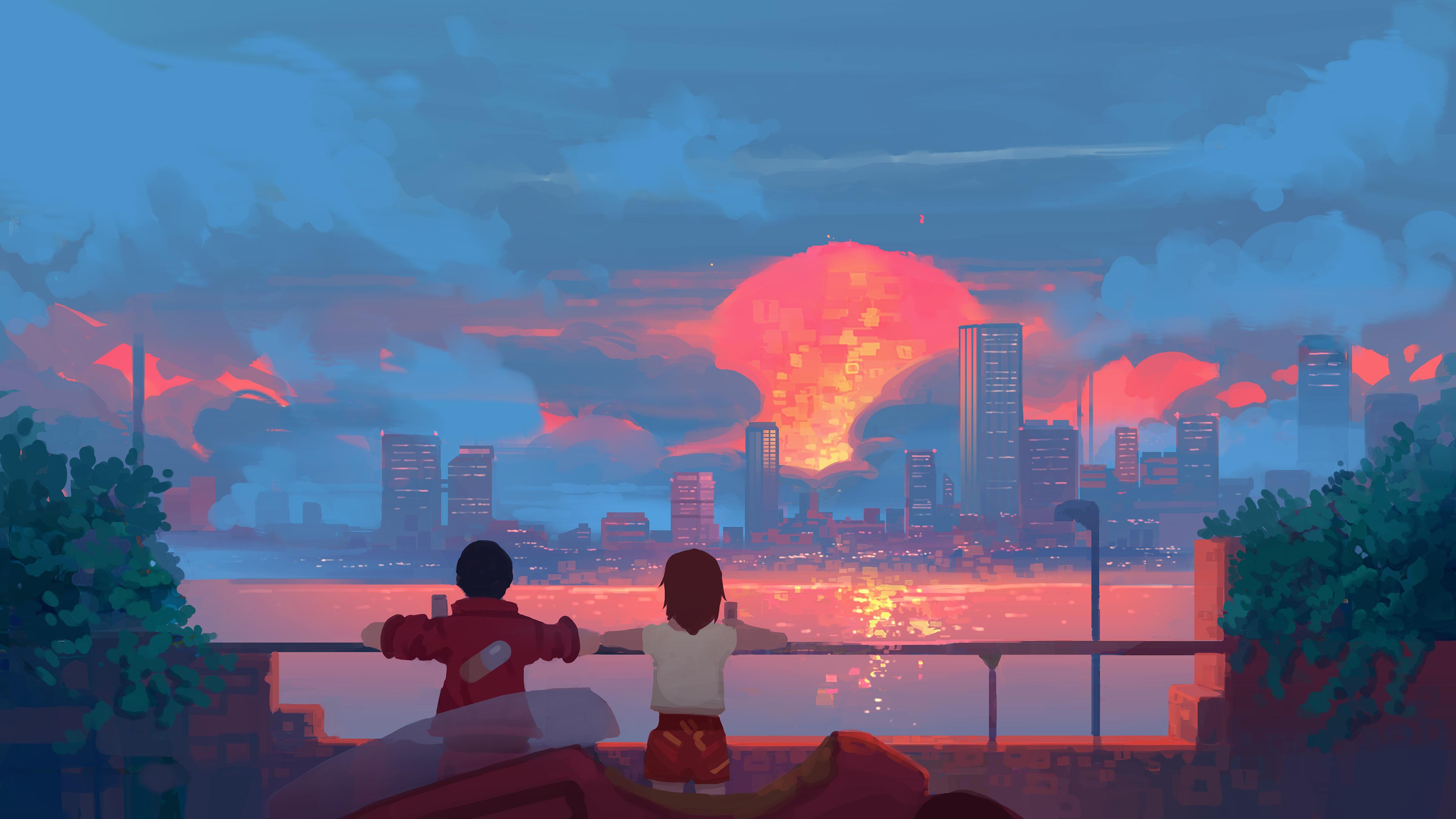 General 3840x2160 artwork digital art sunset city cityscape sea Akira moescape