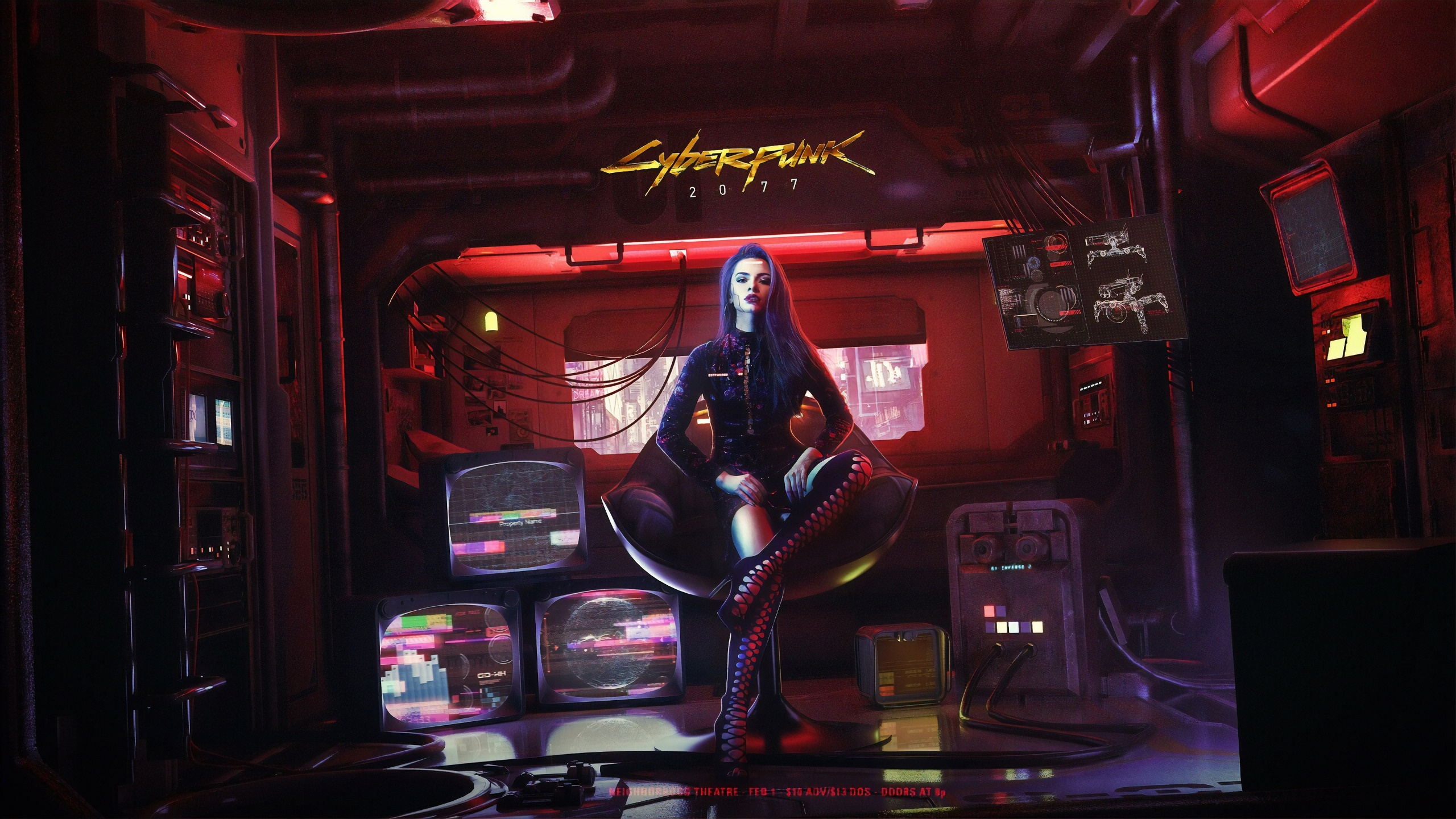 General 2560x1440 Cyberpunk 2077 futuristic women sitting TV digital art cyberpunk frontal view