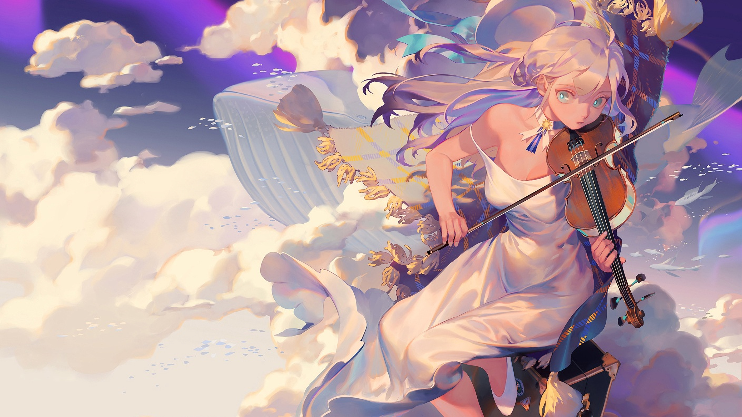 Anime 2818x1586 violin dress clouds