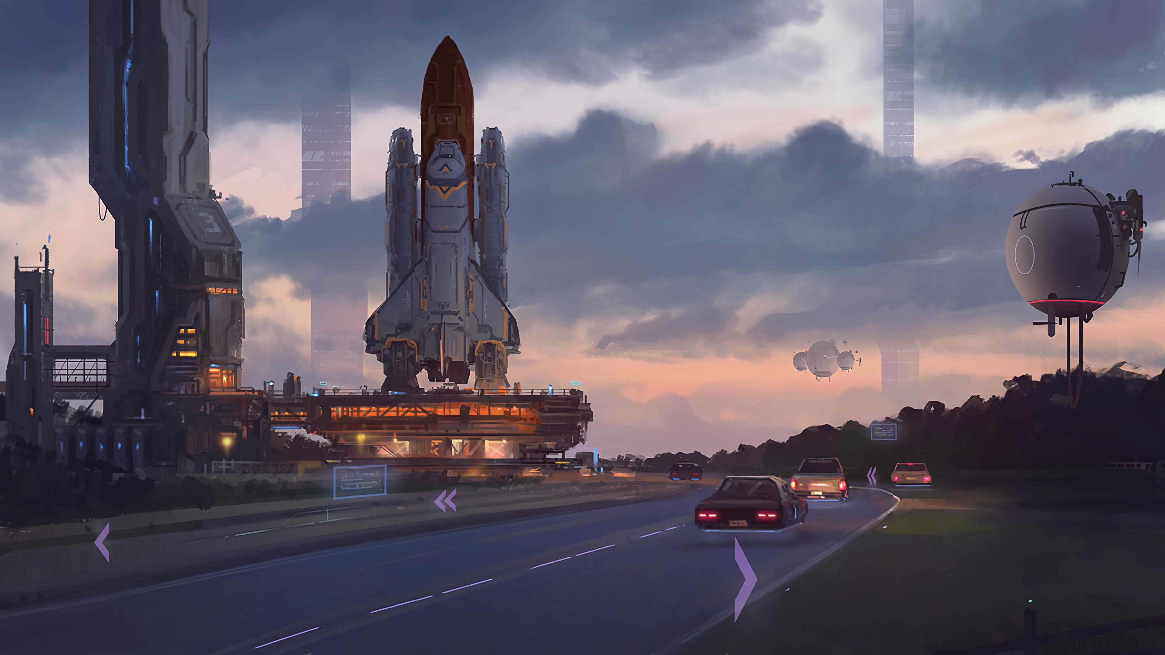 General 3840x2160 digital art fantasy art artwork futuristic road car spaceship wan bao launch pads