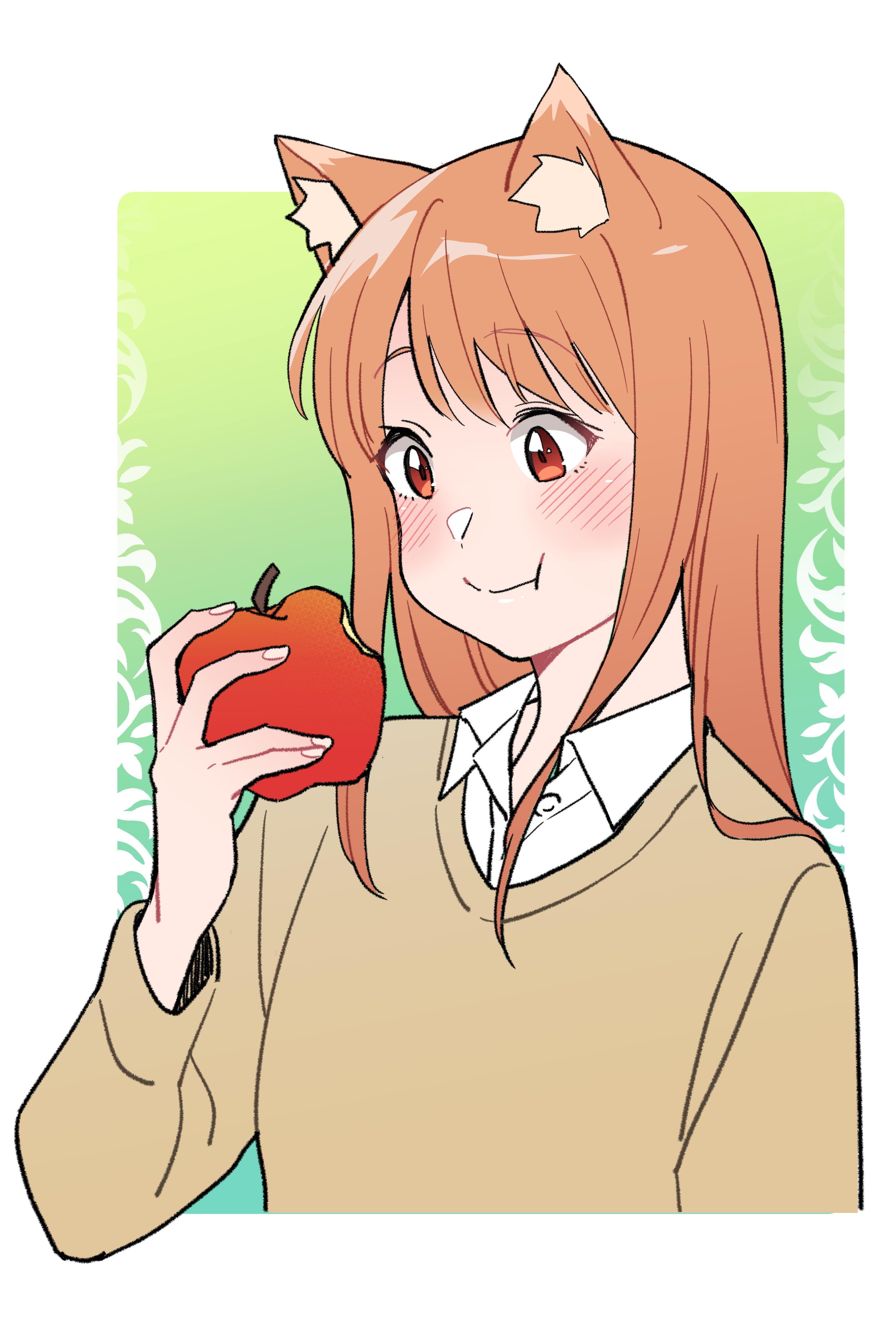 long hair, monster girl, small boobs, redhead, red eyes
