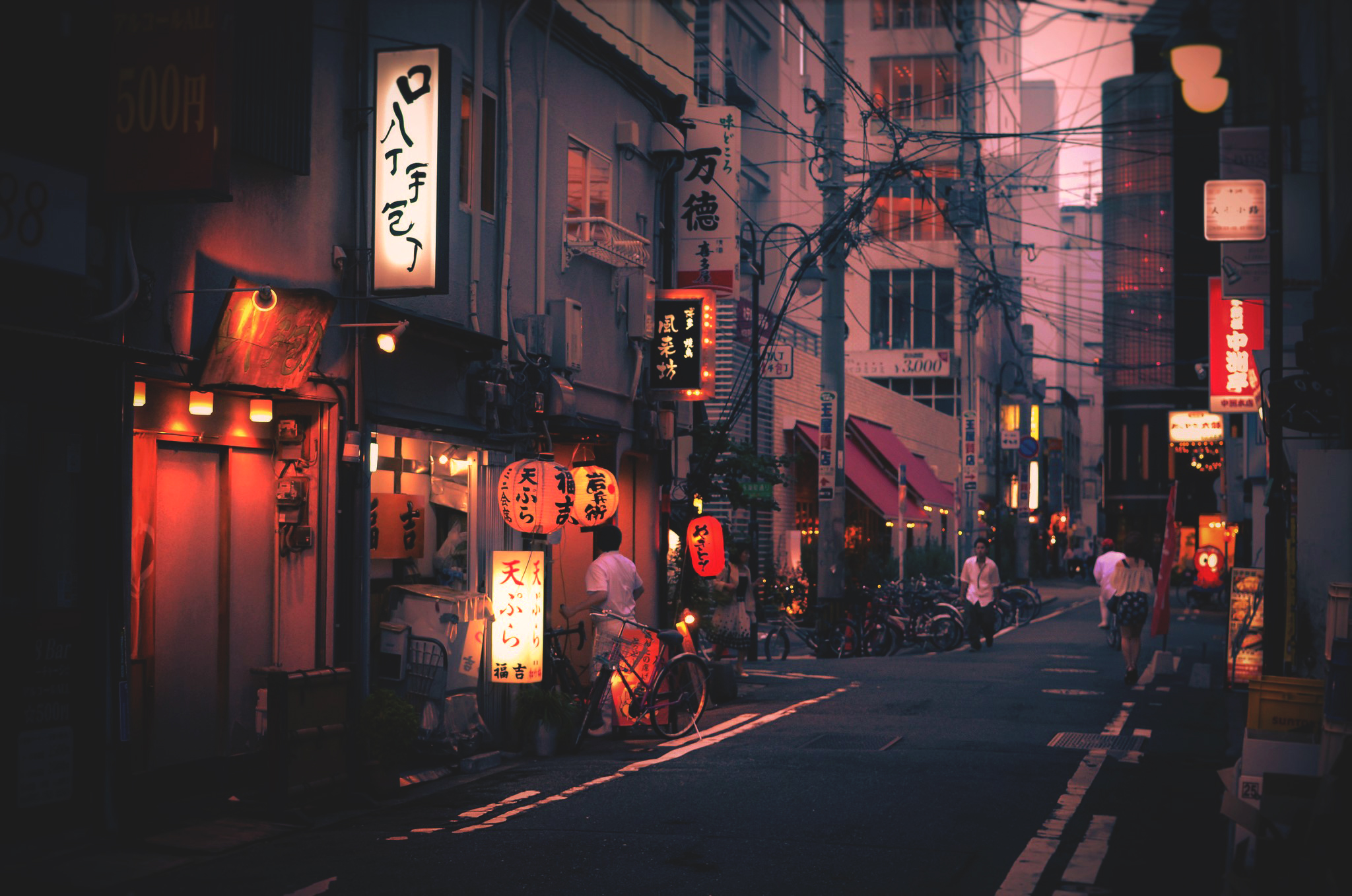 General 2048x1357 city Japan Japanese characters Asia urban street lights