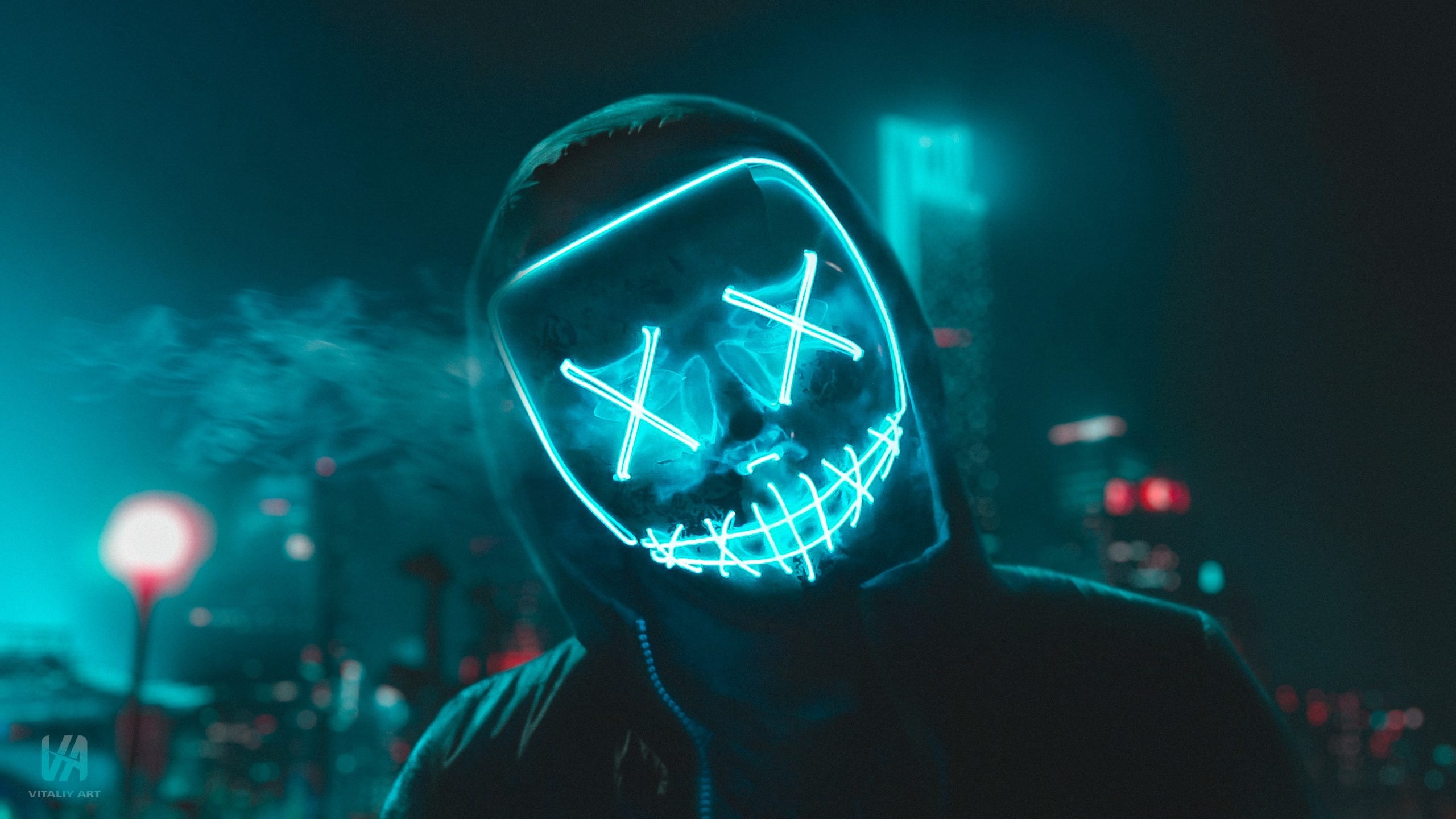 General 2560x1440 night city lights city lights atmosphere urban men outdoors men outdoors neon neon lights mask hoods blue retouching faceless smoke building cyber city Dark Cyberpunk futuristic cyan turquoise