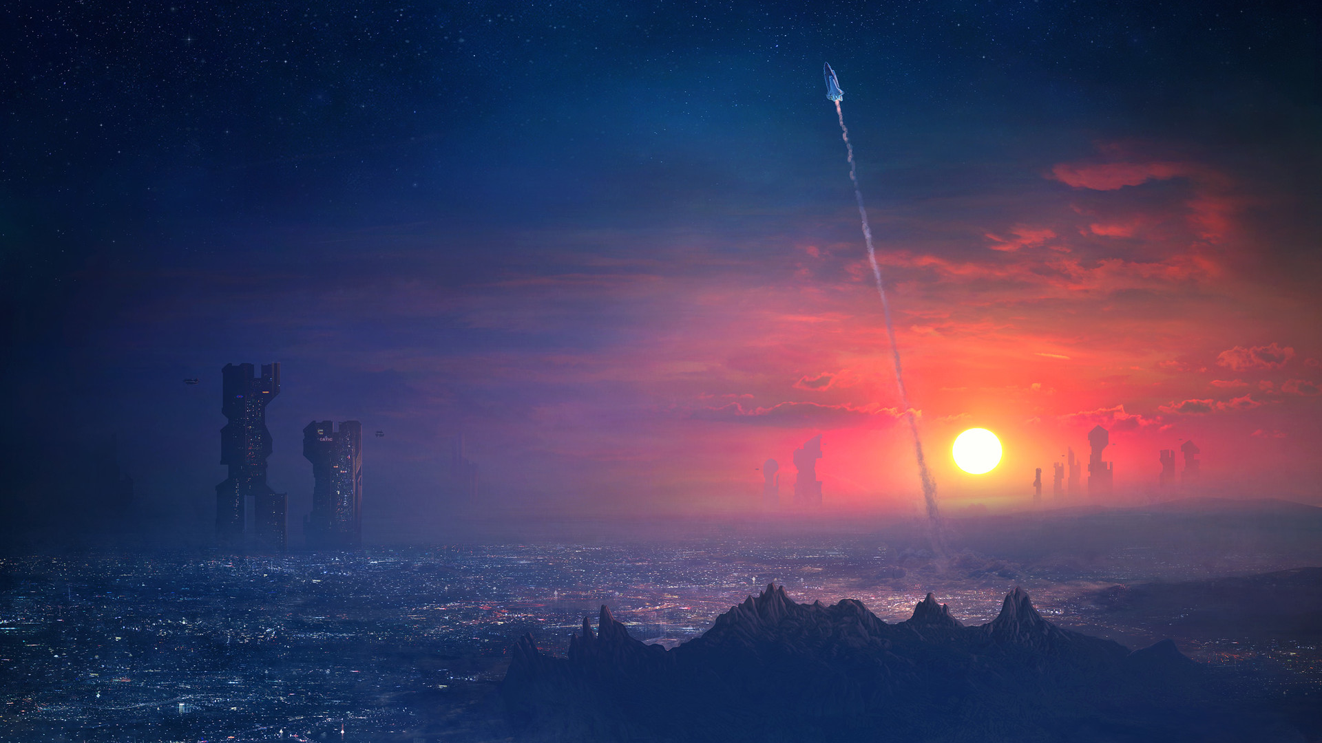 General 1920x1080 Guillem H. Pongiluppi digital art artwork rocket landscape sunset sea stars night sky futuristic architecture