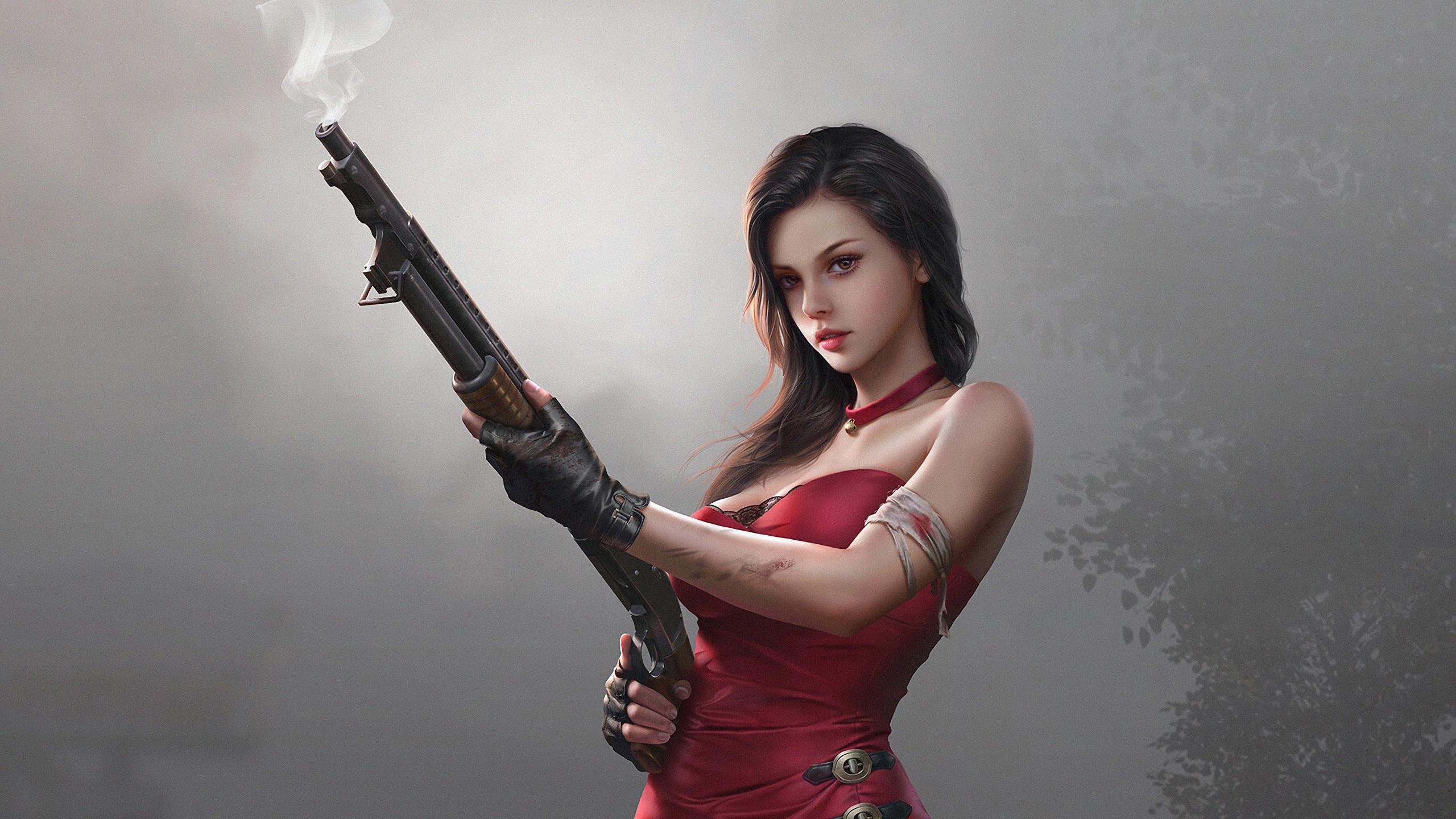 General 2560x1440 fantasy girl gun red dress girls with guns ada wong