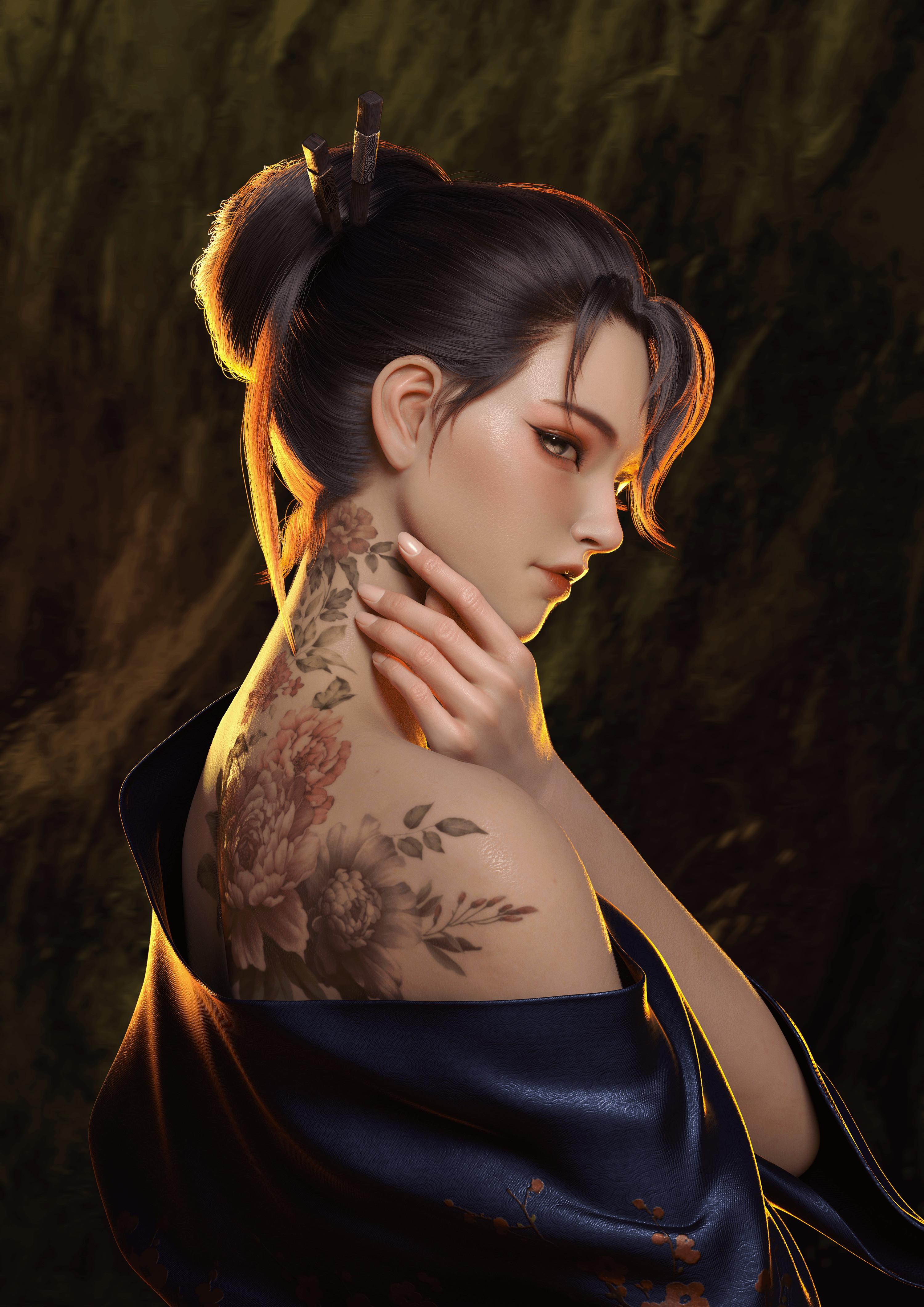 General 3000x4241 women brunette robes artwork