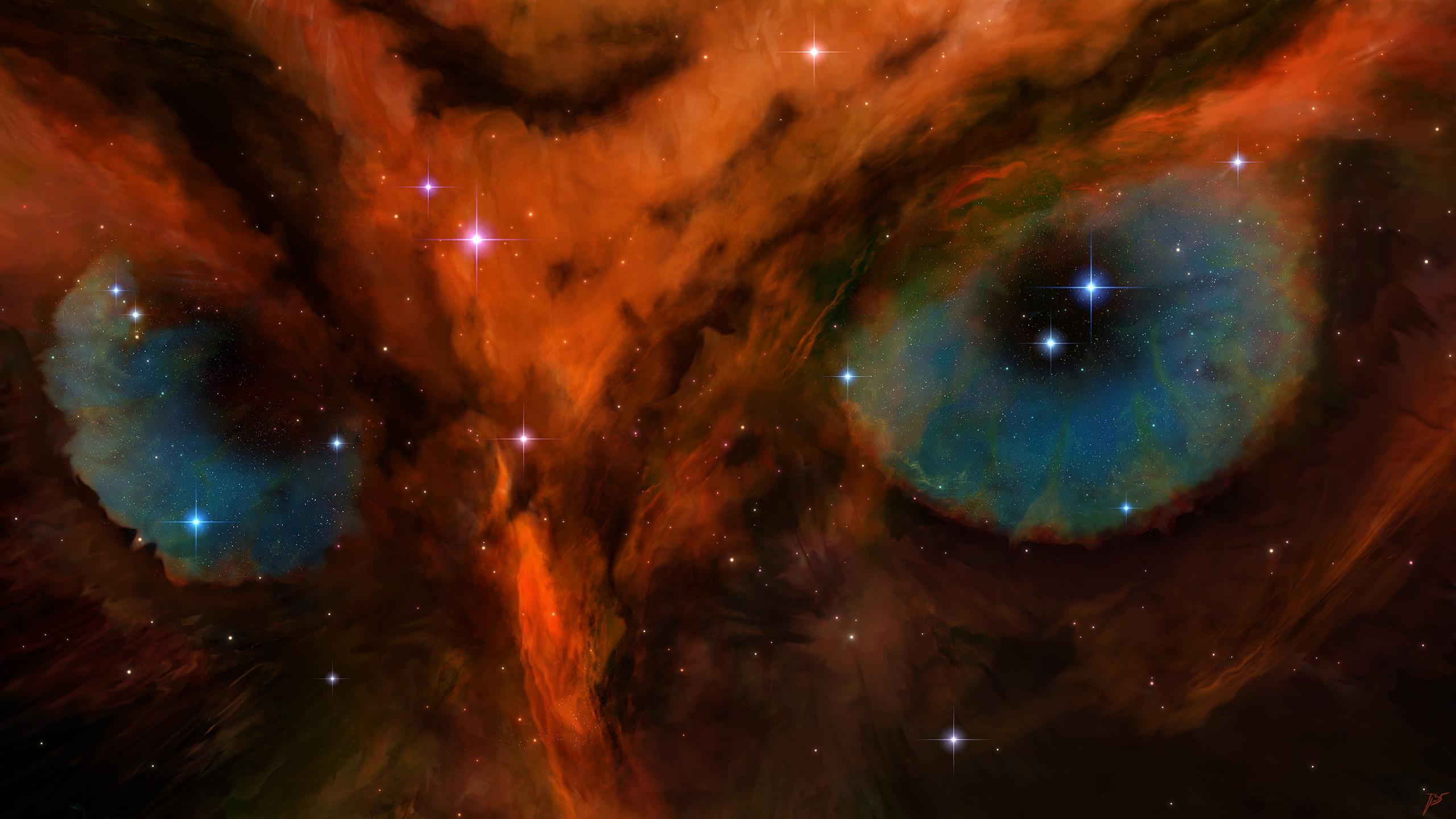 General 2560x1440 JoeyJazz nebula space art owl nature animal eyes