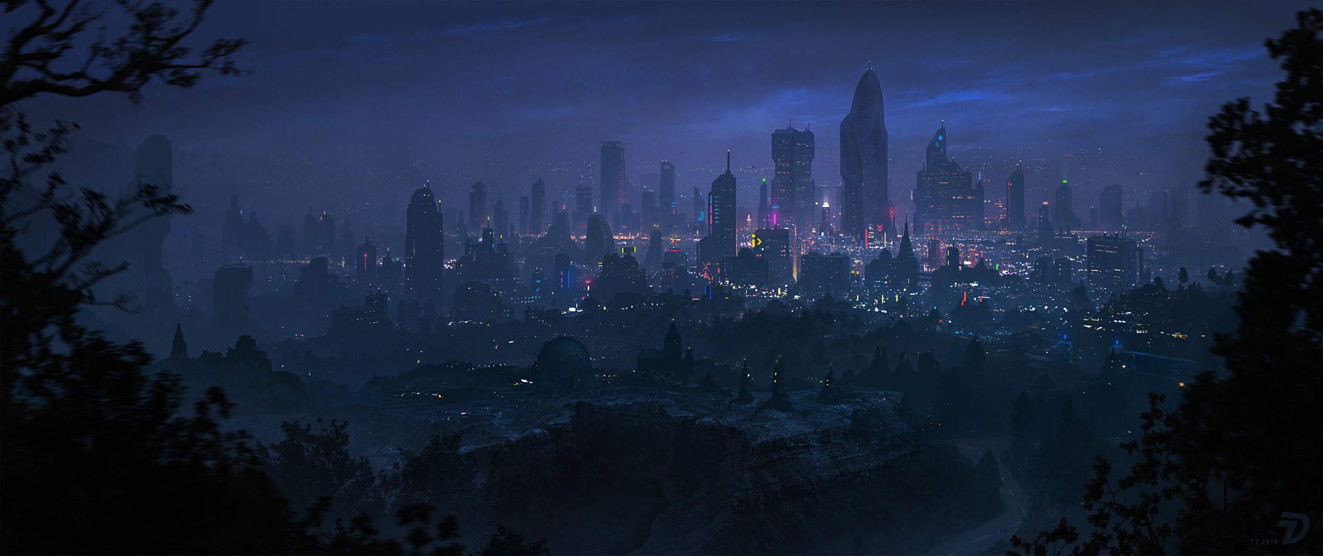 General 1920x808 city night city lights cityscape cliff glowing