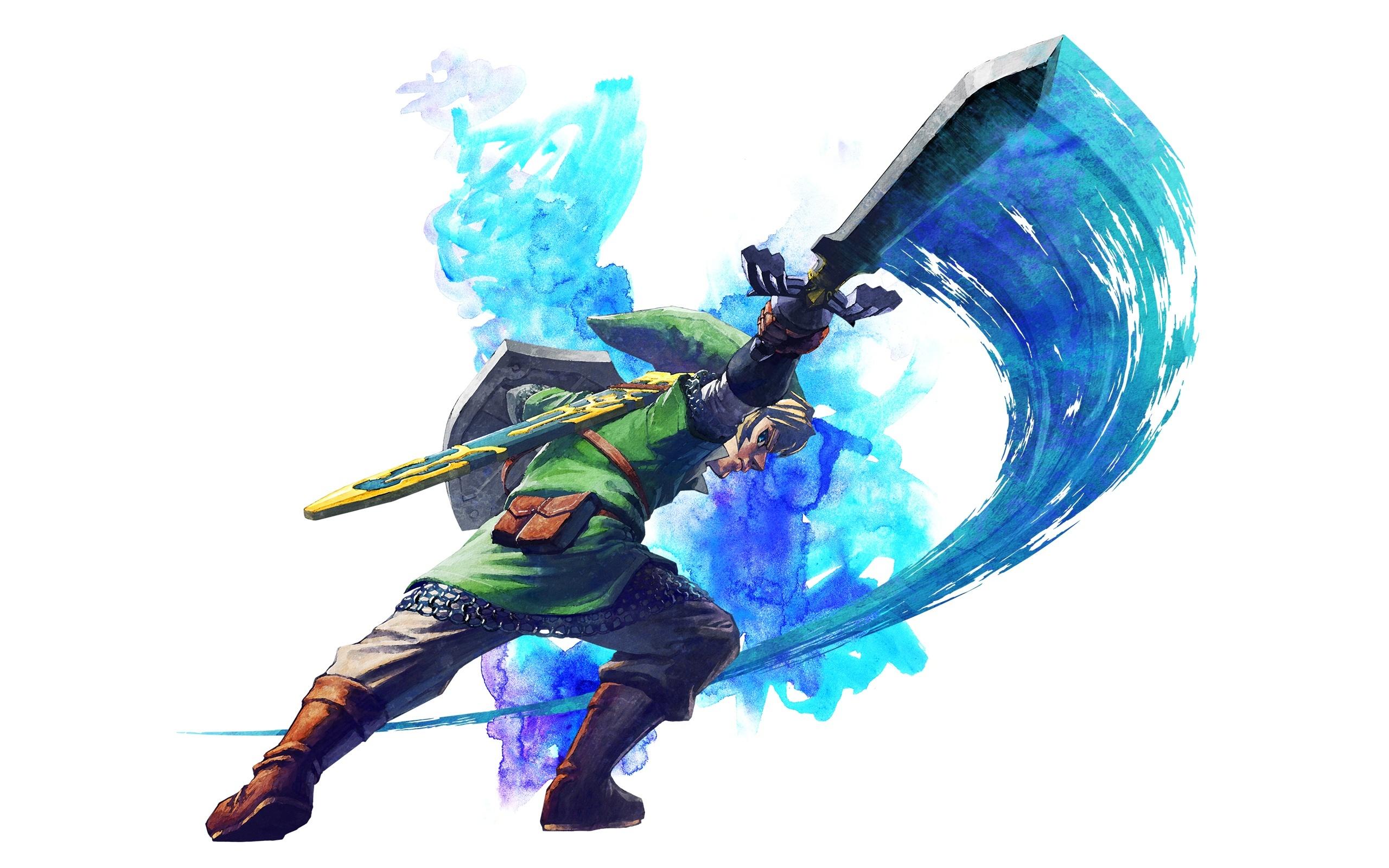 General 2560x1600 The Legend of Zelda the legend of zelda: skyward sword white background digital art Link simple background video games video game art sword shield fantasy art