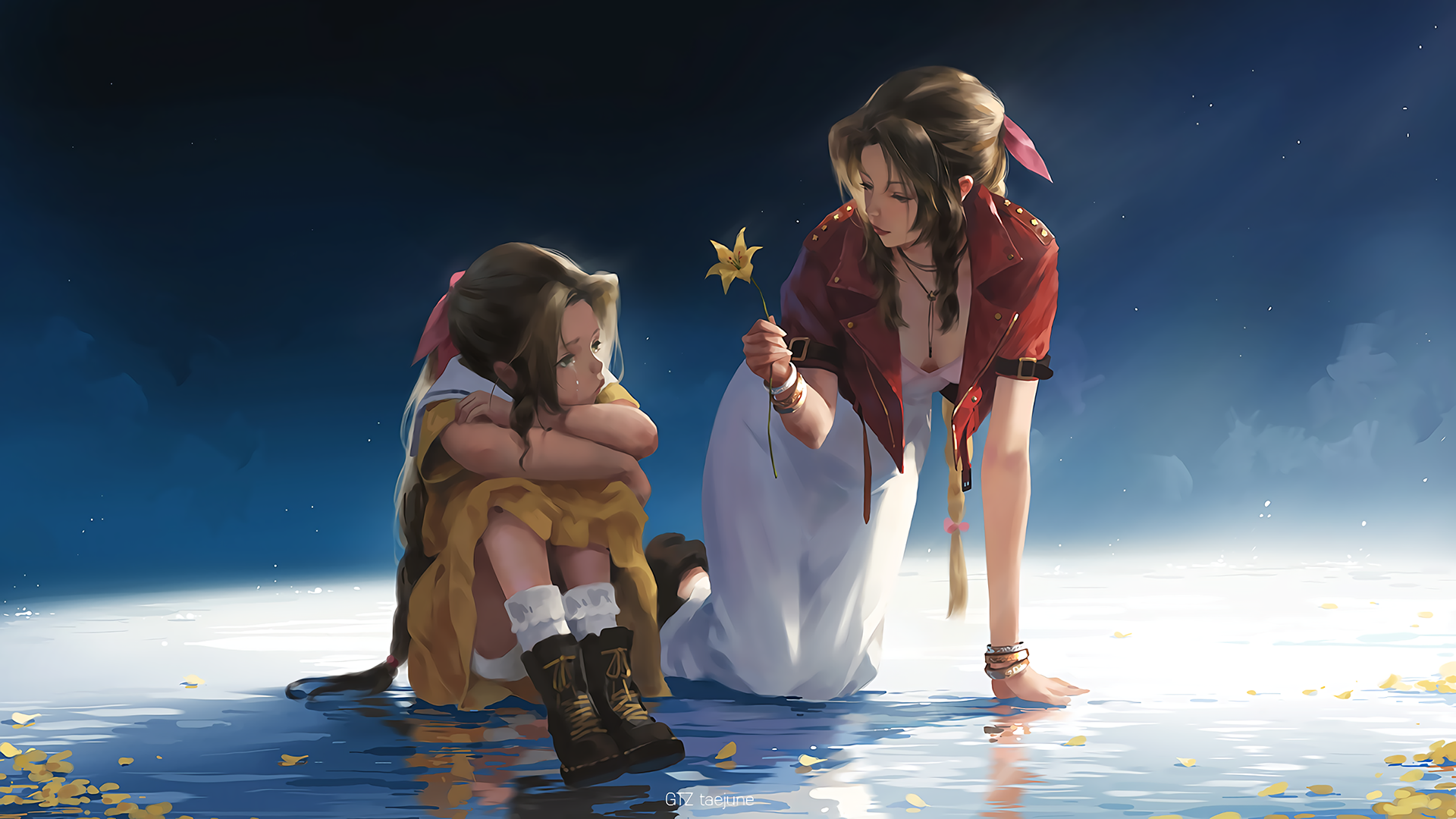 Anime 1920x1080 long hair water leaves flowers Final Fantasy VII bracelets necklace cleavage Aerith Gainsborough anime