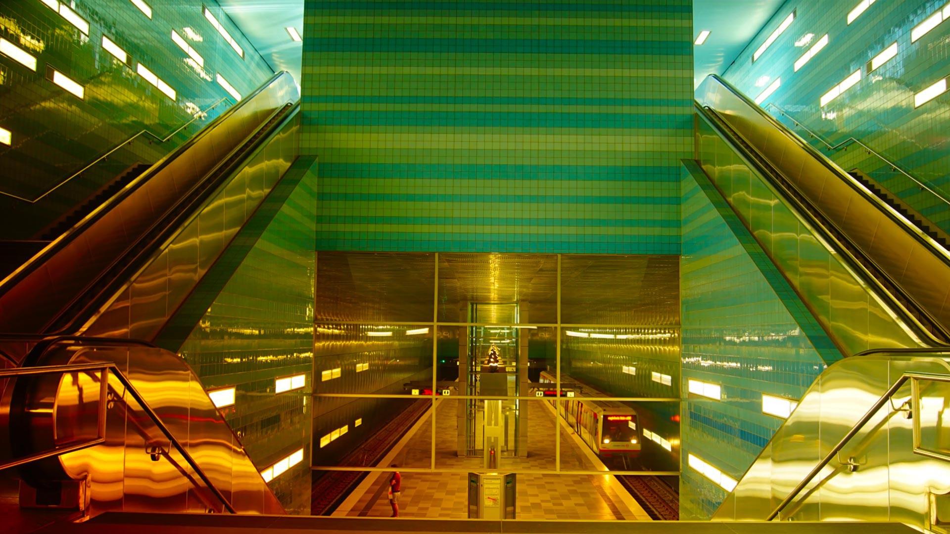 General 1920x1080 glass architecture ladders escalator metro railway station lights underground Hamburg Germany