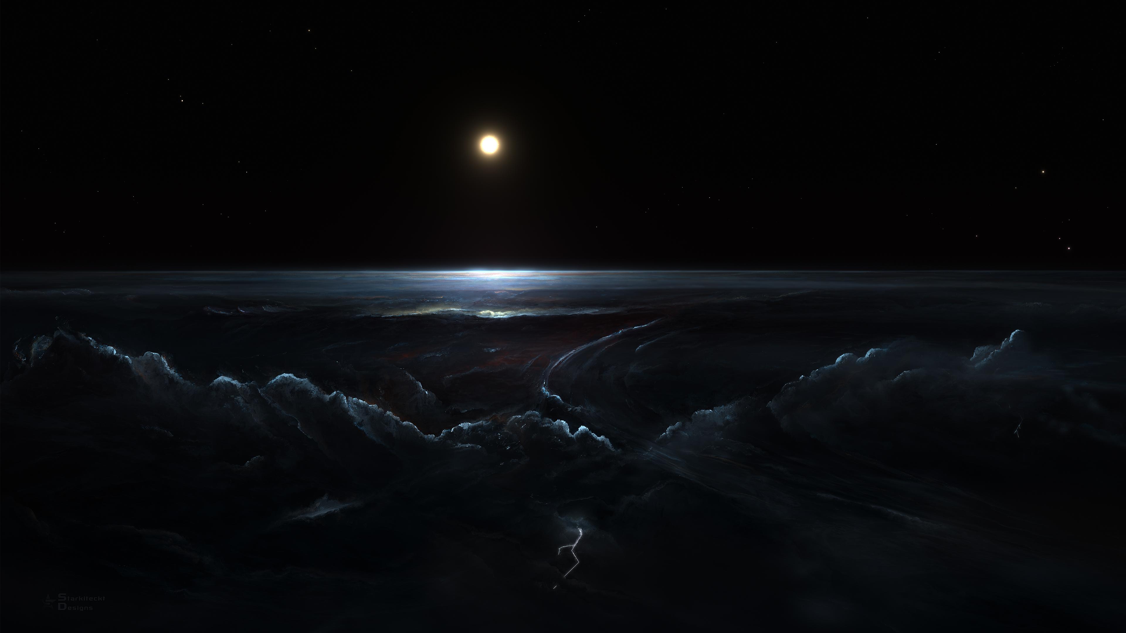 General 3840x2160 space Moon galaxy dark stars Sun lightning clouds black