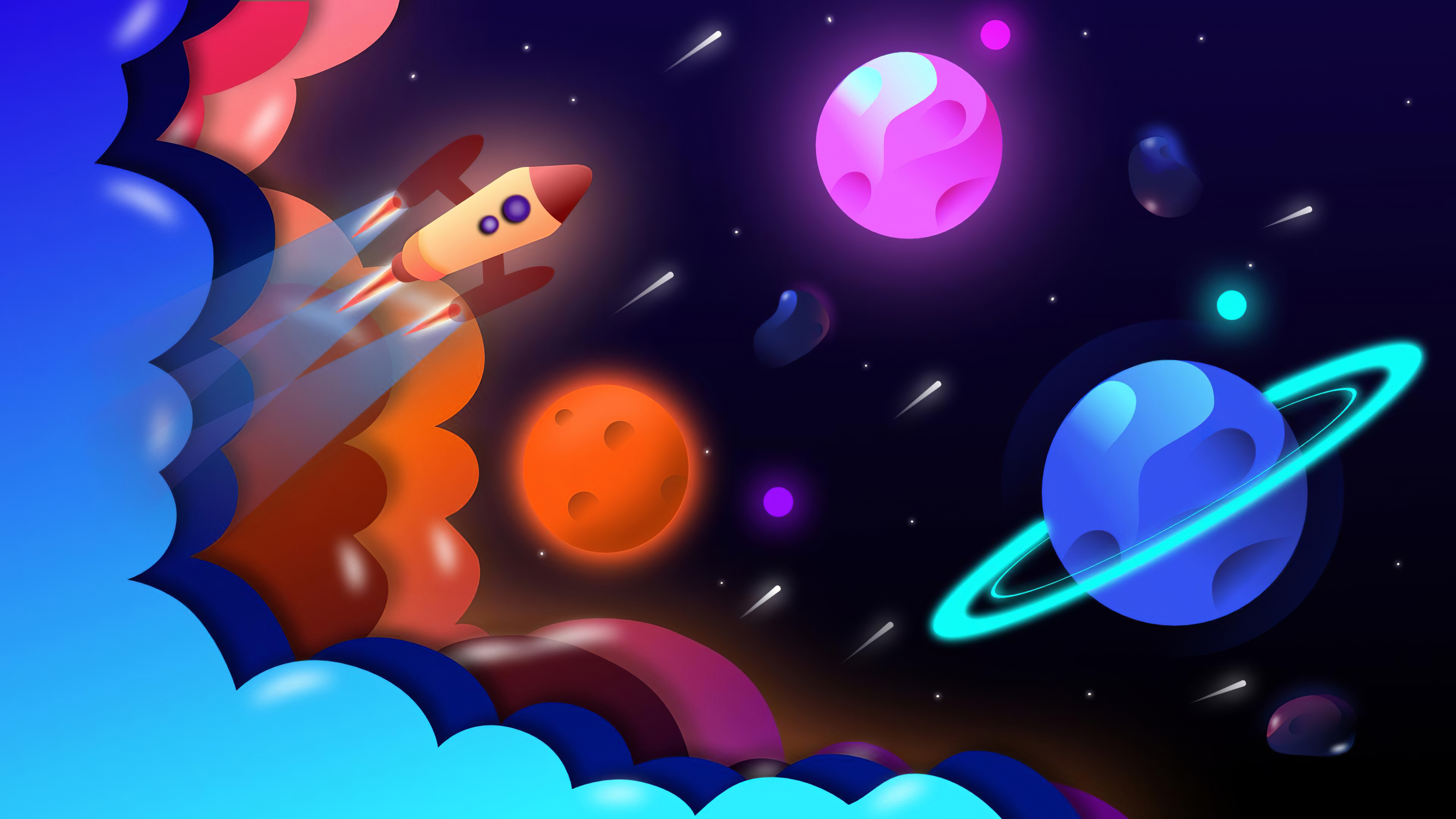 General 3840x2160 digital art digital space space travel colorful