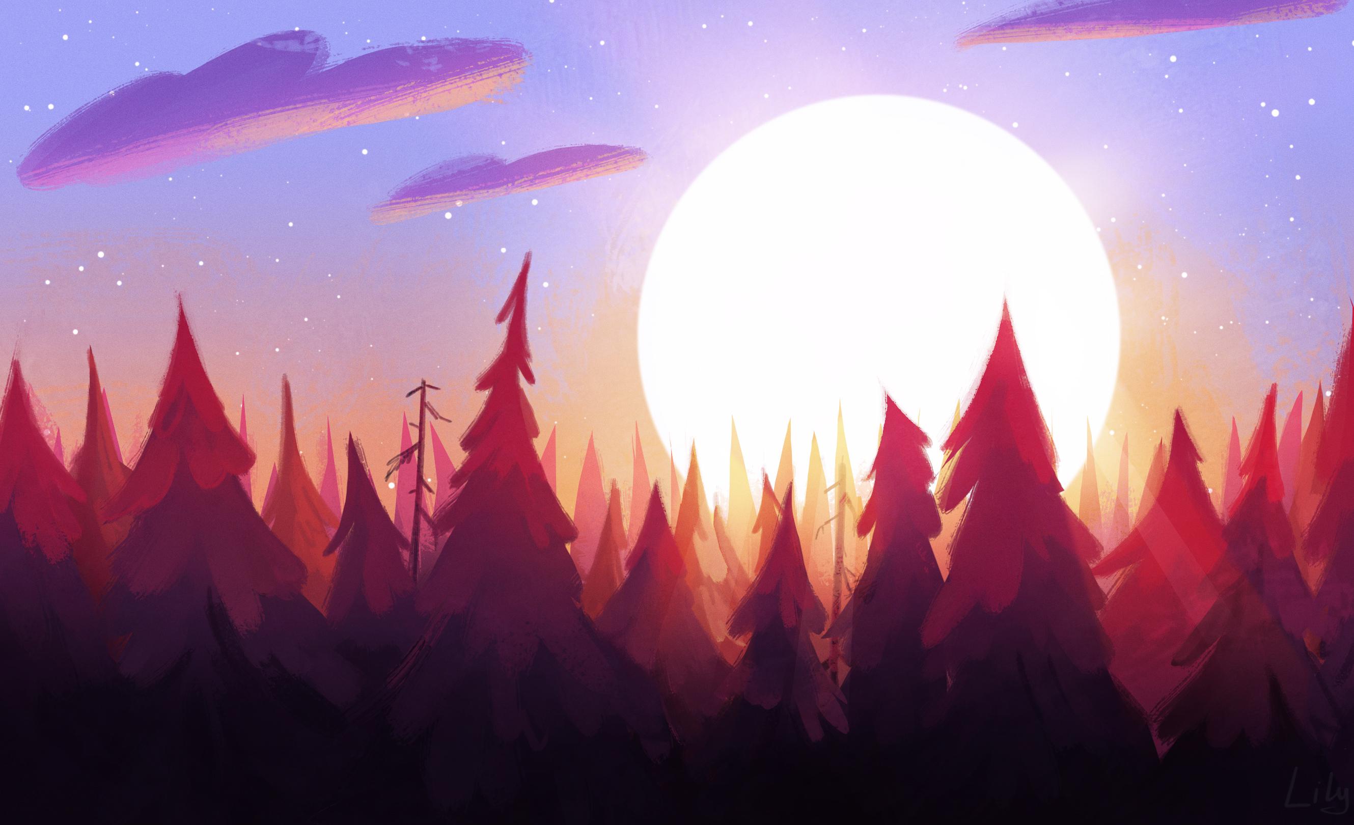 General 2659x1620 digital digital art artwork drawing painting digital painting Sun sun rays morning sunrise forest trees clouds dusk dark nature landscape illustration
