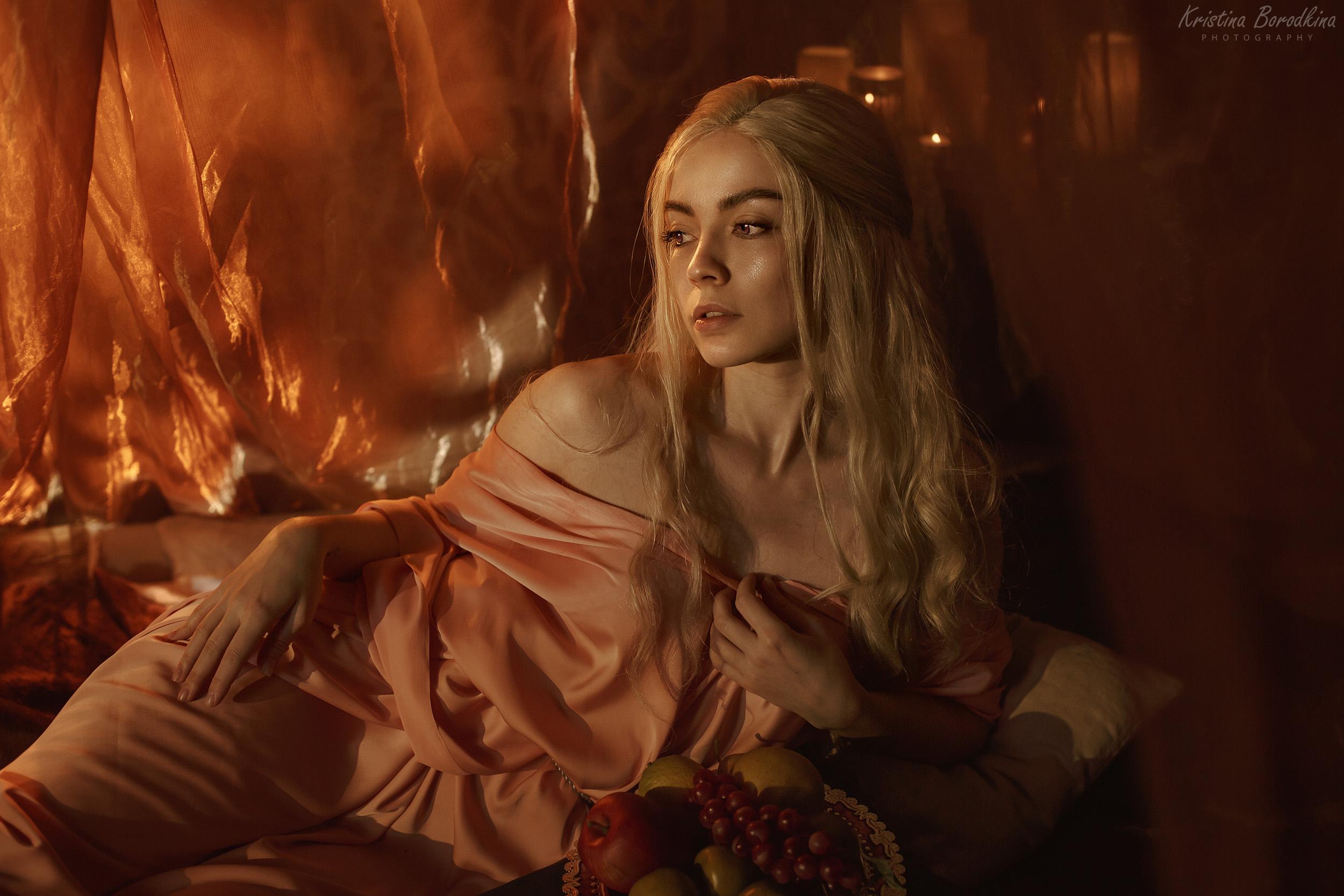 People 2500x1667 women blonde Daenerys Targaryen cosplay tent lingerie Kristina Borodkina