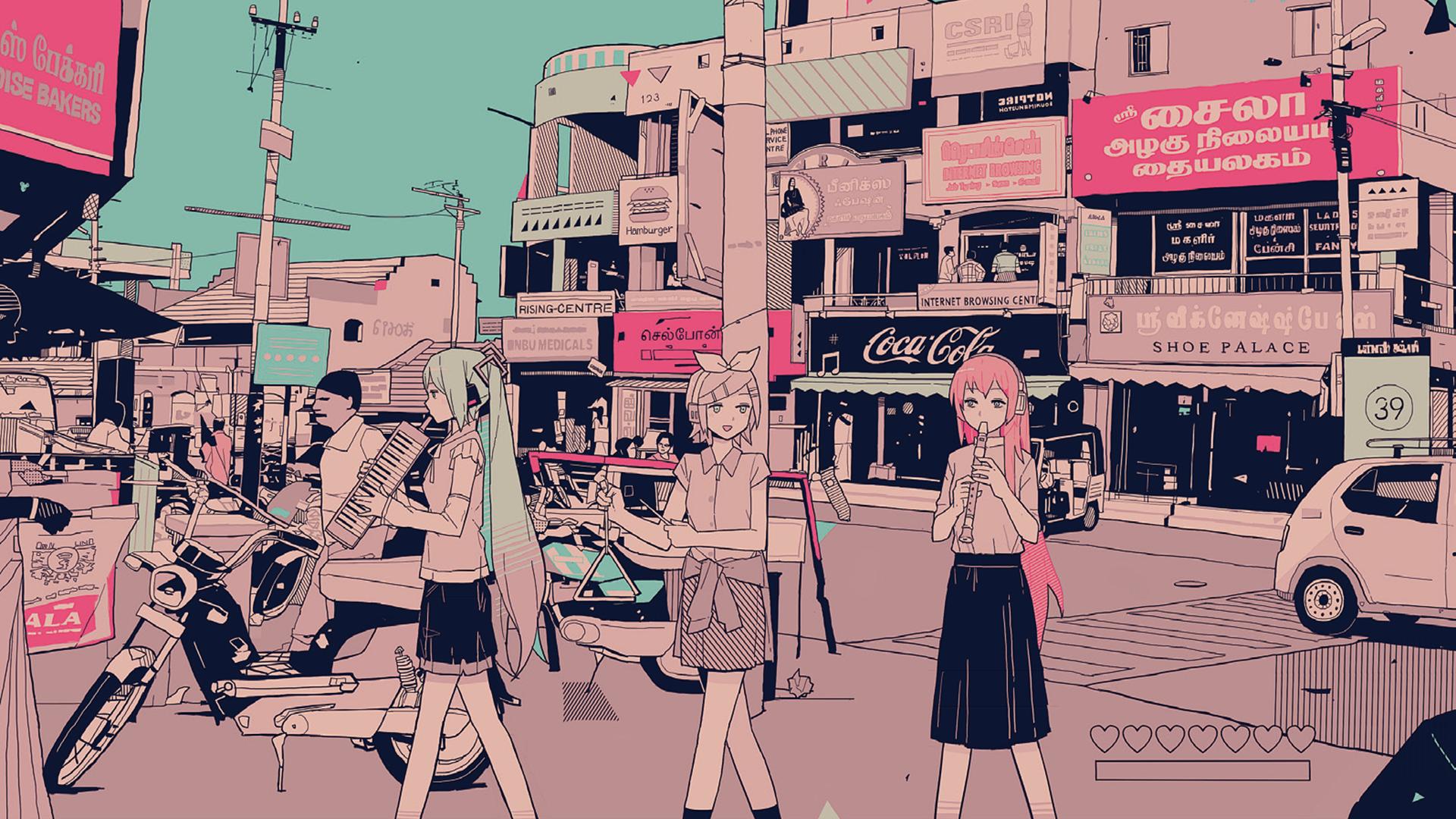Anime 1920x1080 anime pink Vocaloid Hatsune Miku anime girls Megurine Luka vintage Kagamine Rin