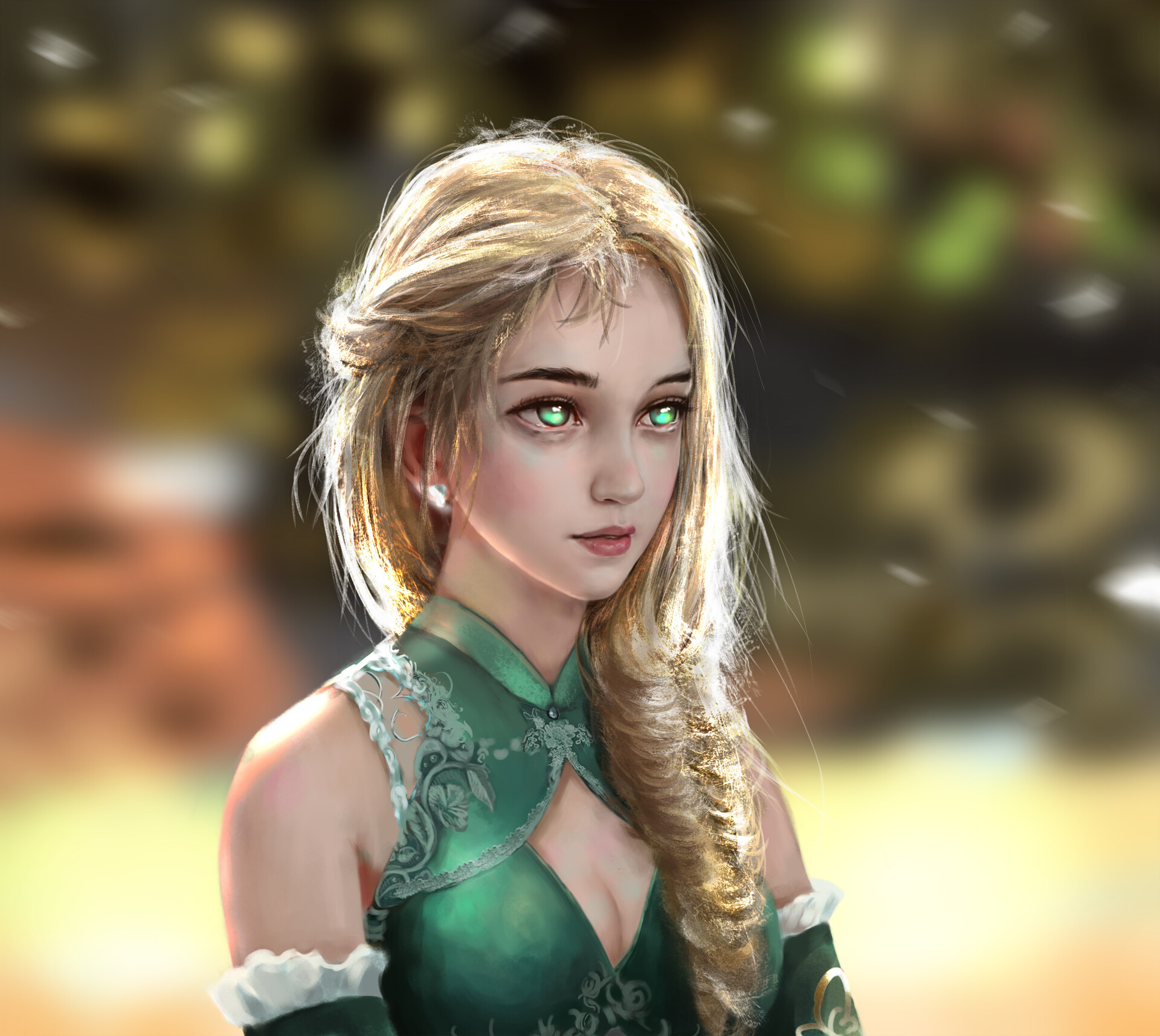 General 1920x1715 digital art fantasy art women blonde illustration green eyes
