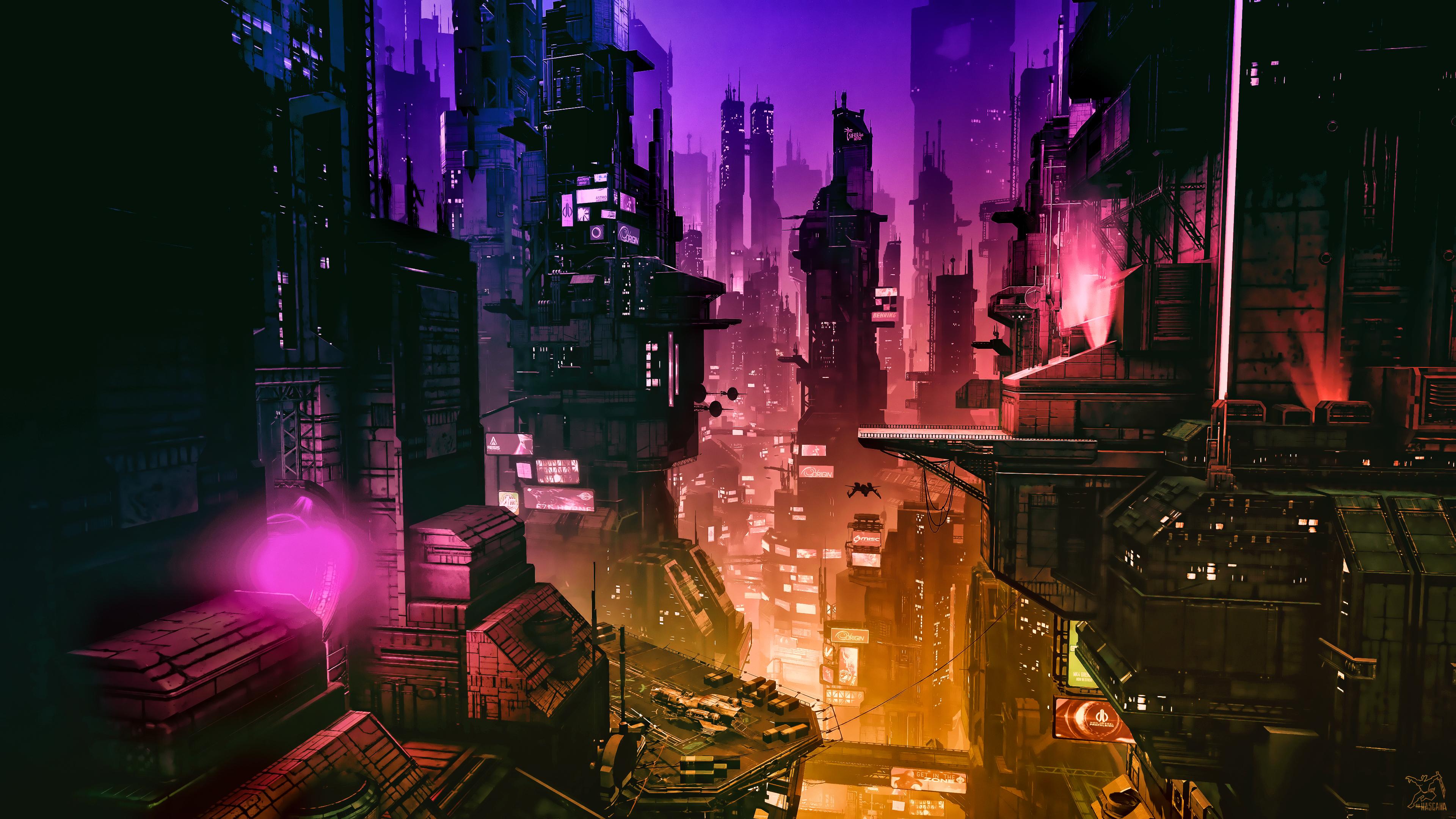 General 3840x2160 cyber science fiction digital art concept art cyberpunk artwork futuristic fantasy art fan art 3D PC gaming cityscape futuristic city CGI spaceship Star Citizen ruins anvil aerospace ArtStation