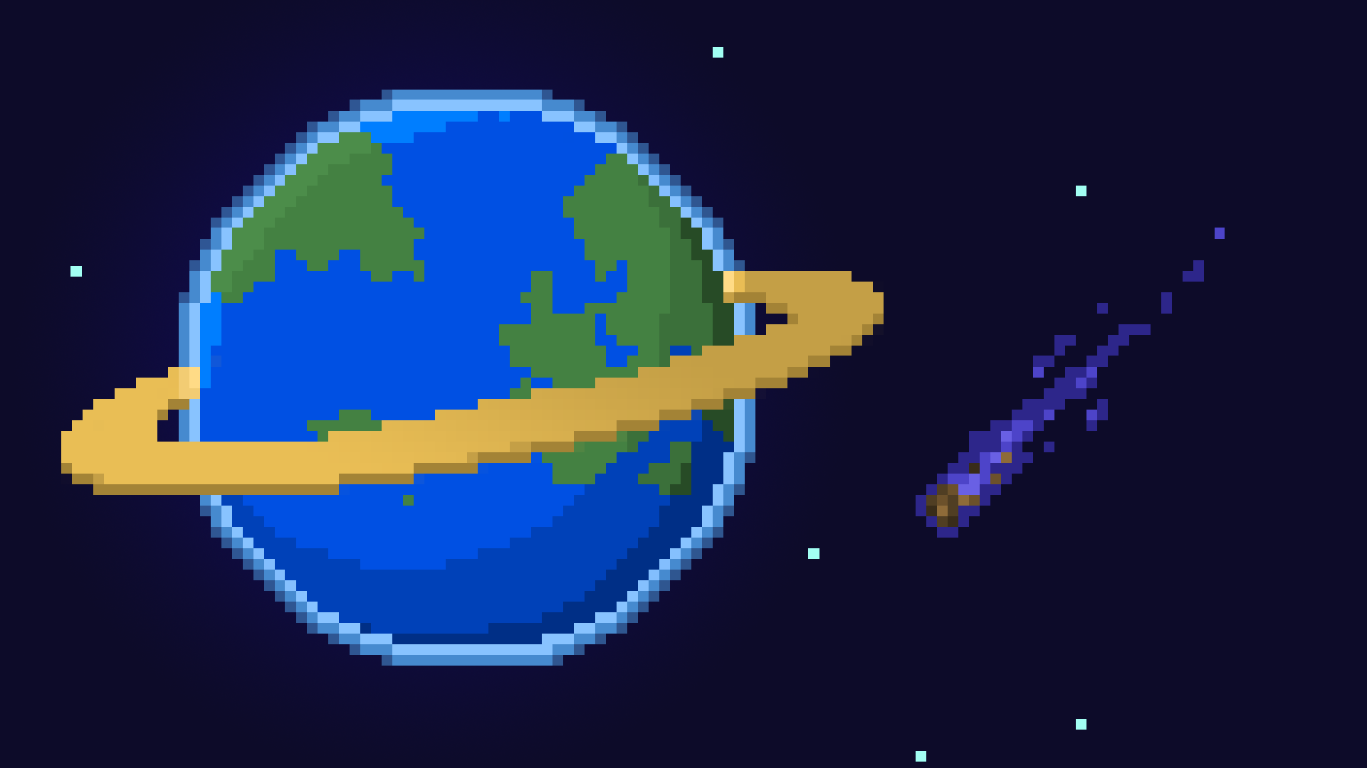 General 1920x1080 pixel art pixelated pixels digital art space universe planet stars planetary rings Earth comet blue background