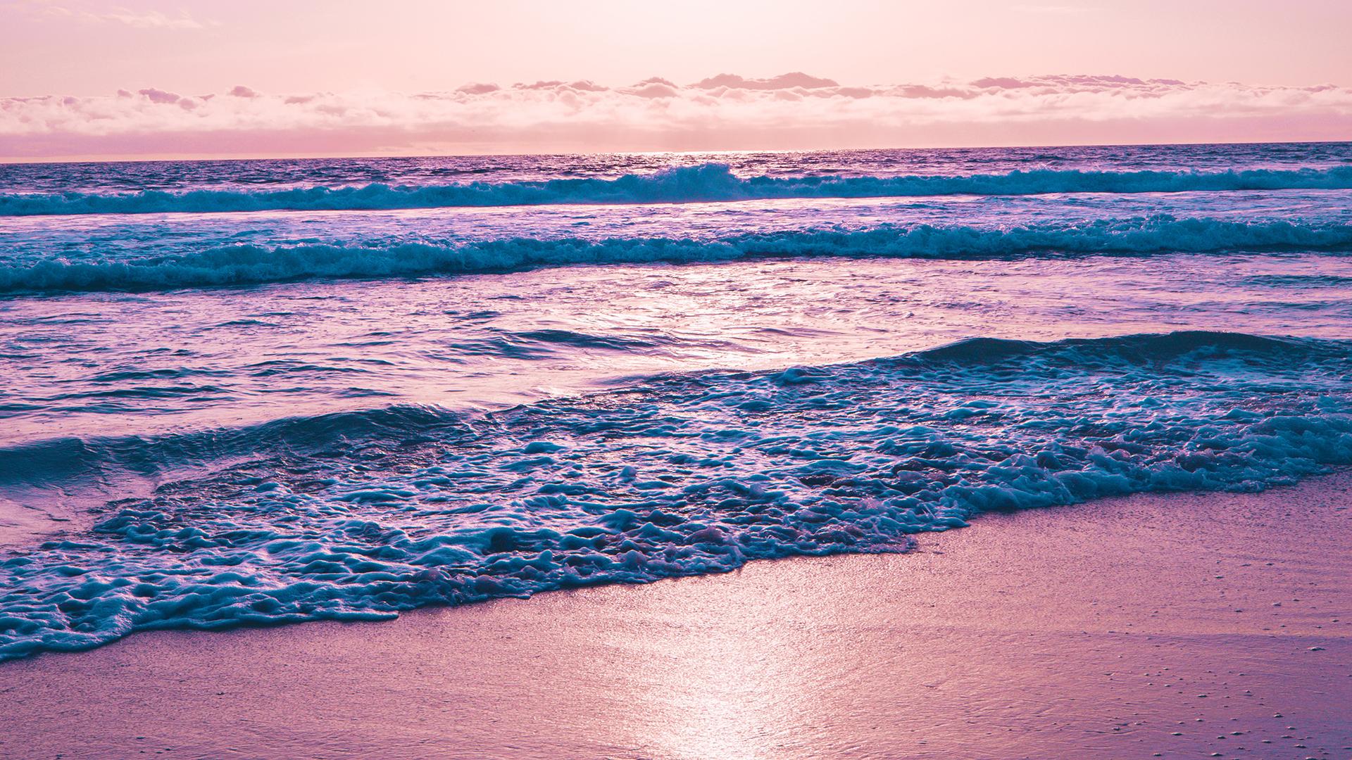 General 1920x1080 waves water purple sky
