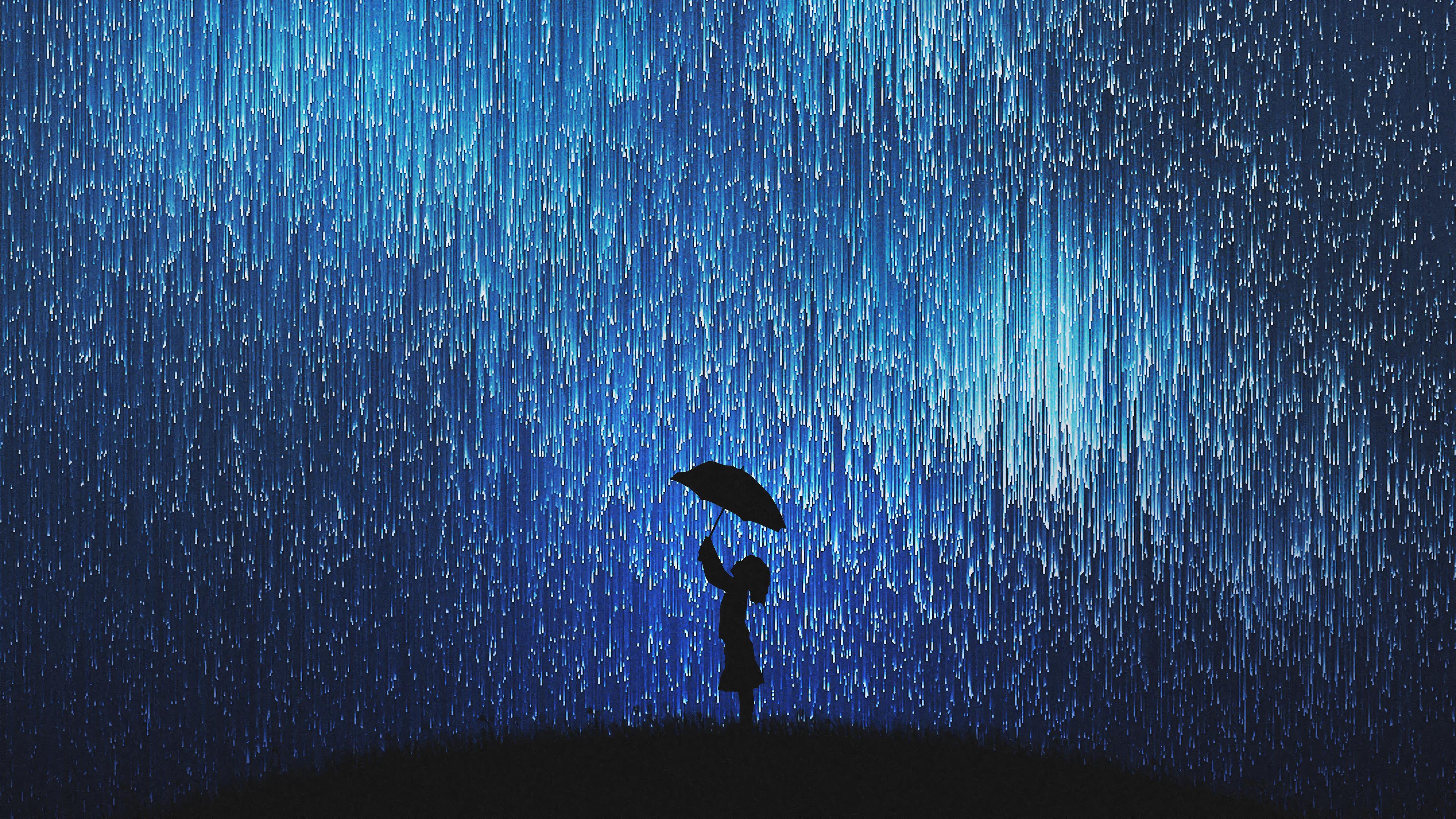 General 3840x2160 digital digital art artwork illustration landscape fantasy art silhouette dark people night sky night sky nature rain umbrella children fantasy girl women starry night stars starscape starred sky blue galaxy pixel sorting