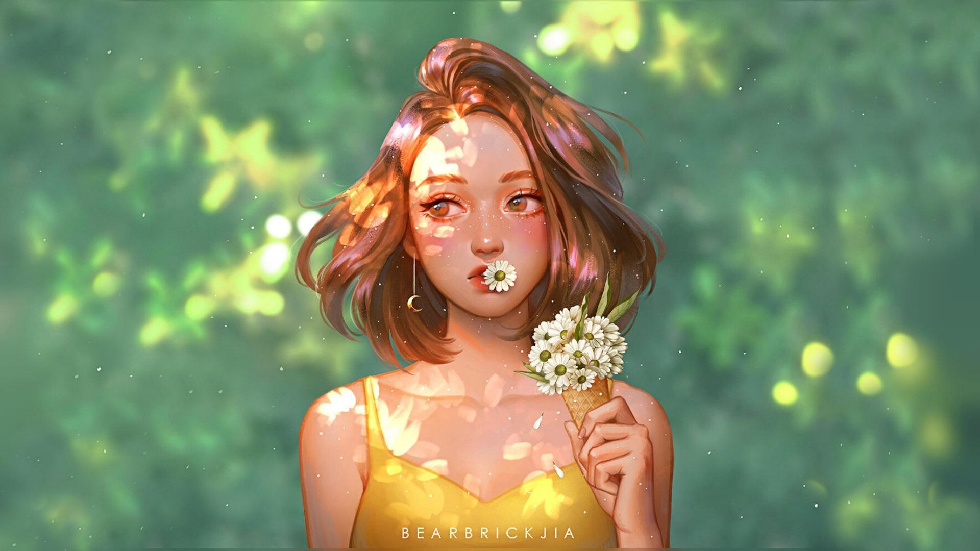 General 1920x1080 digital art fantasy girl flowers green Karmen Loh women illustration daisies