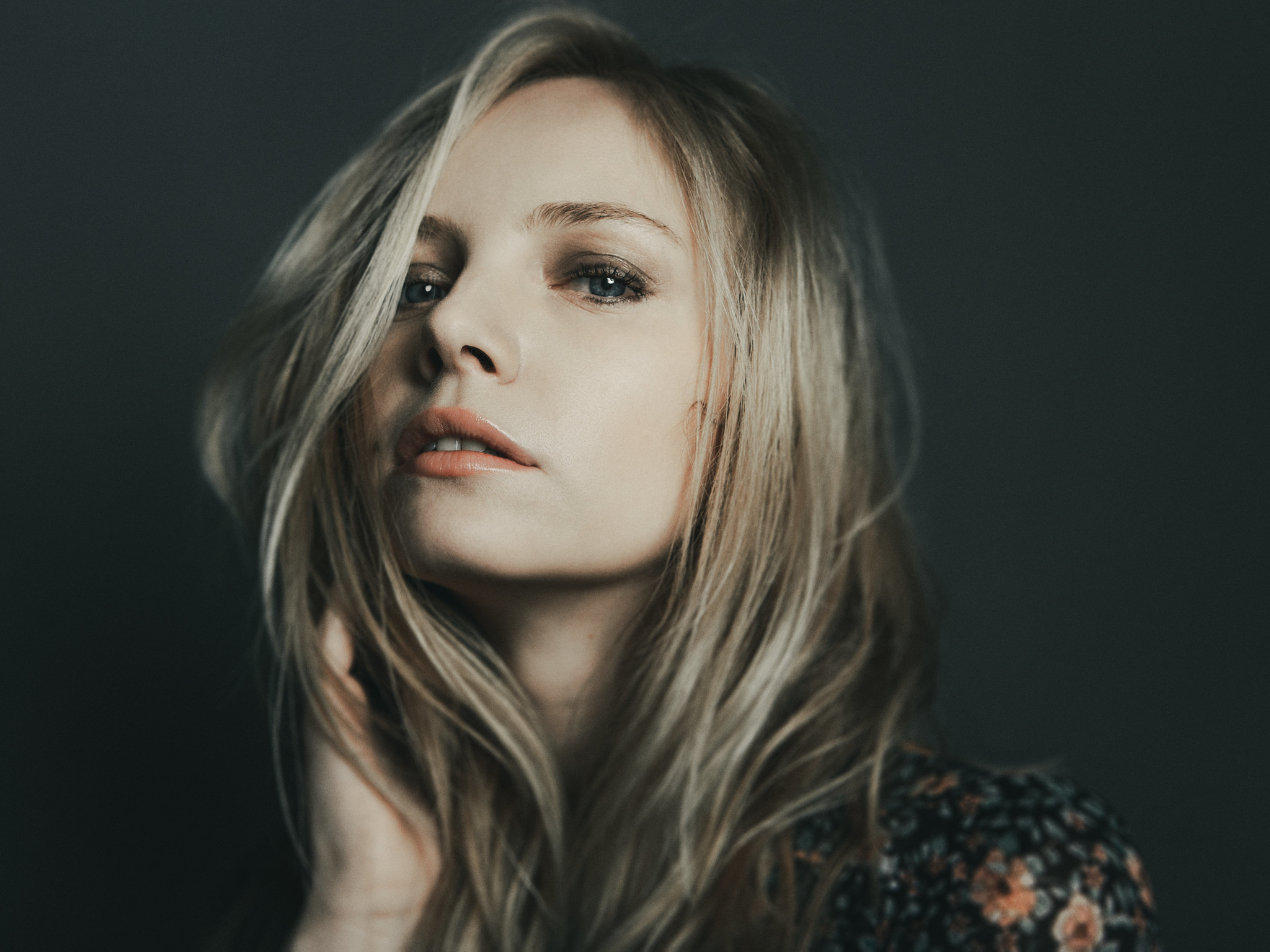 People 2048x1536 women blonde blue eyes looking at viewer hands in hair portrait Laure Massard