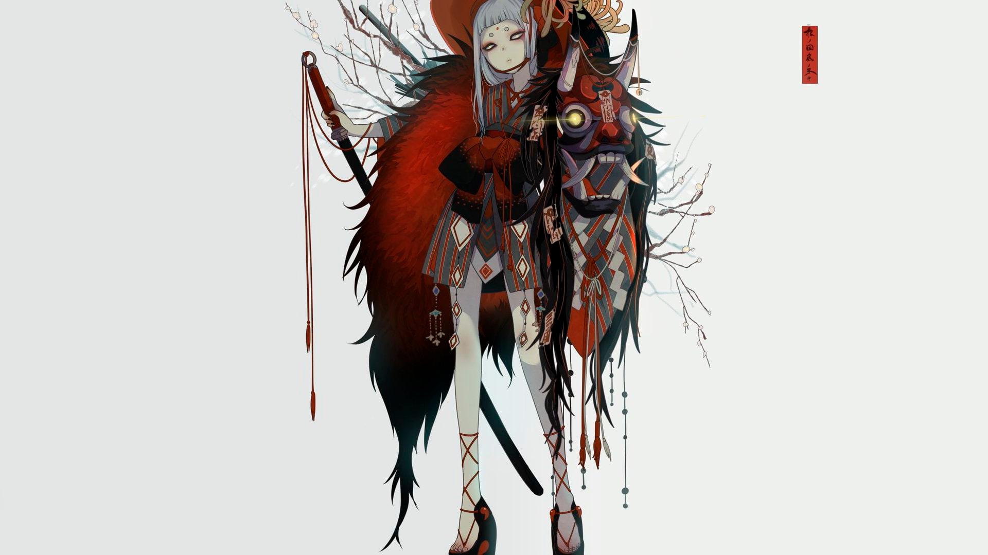 Anime 1920x1080 anime oni girl anime girls white background fantasy girl simple background