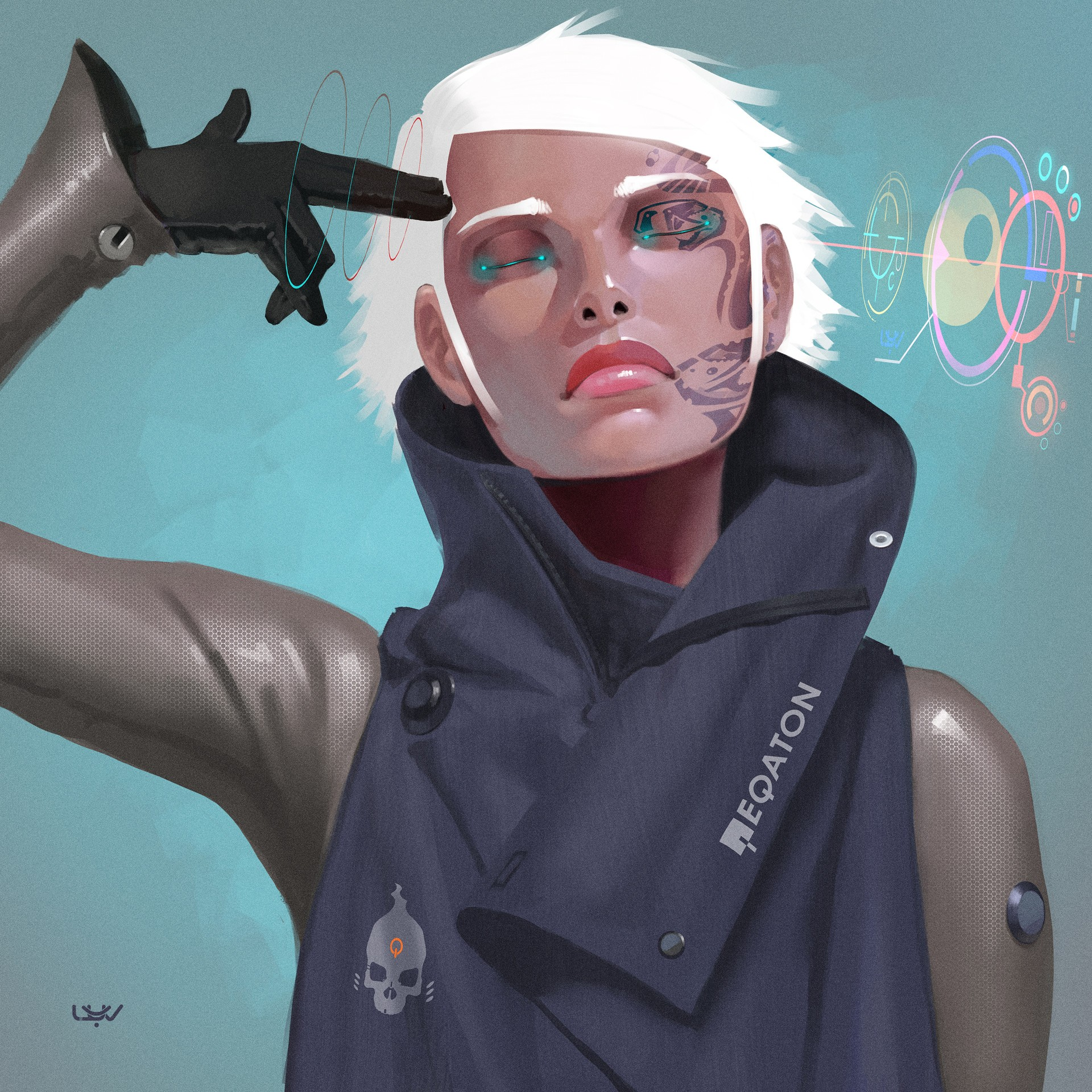General 1920x1920 cyberpunk white hair blonde women