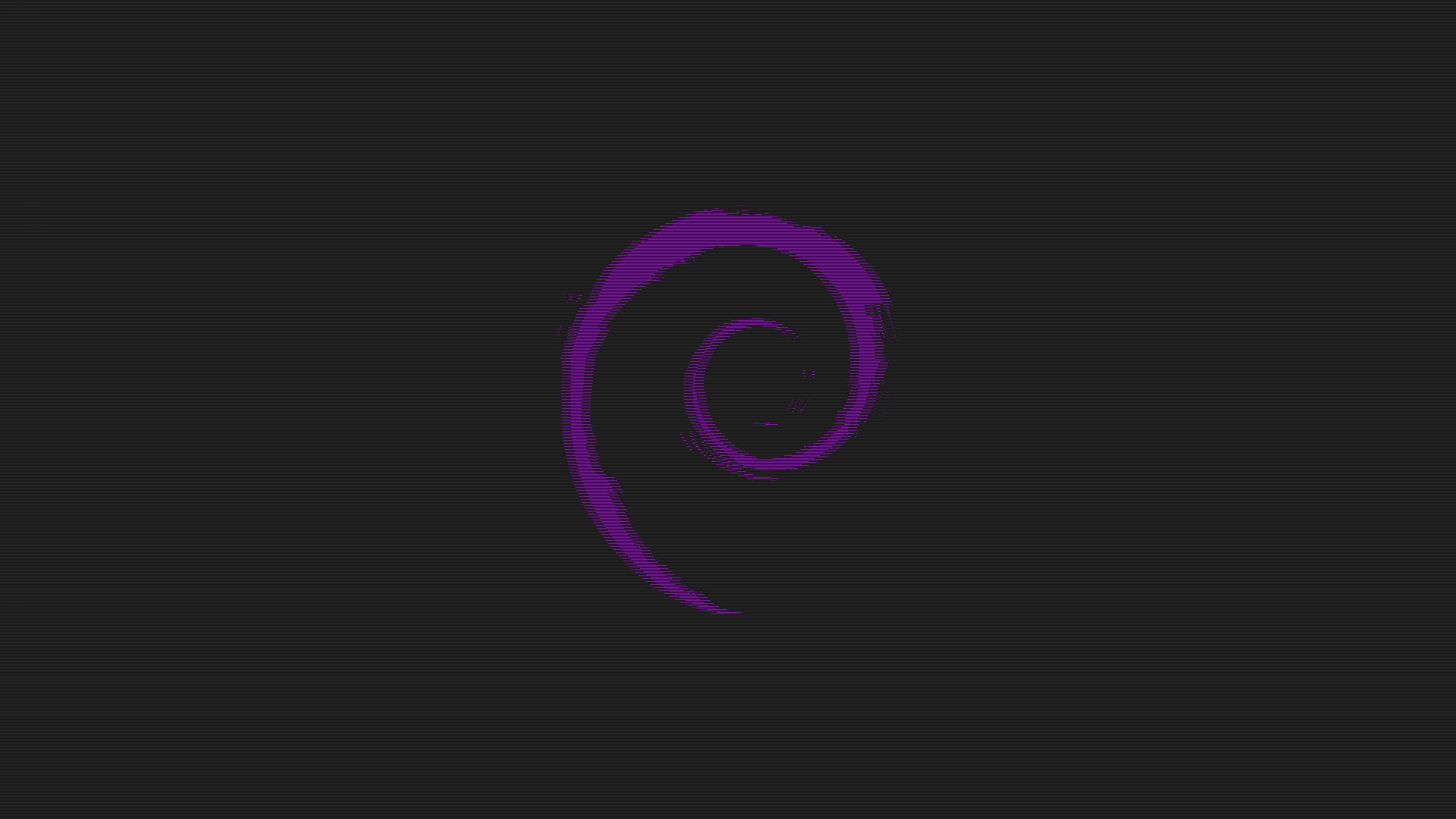 General 3840x2160 Debian minimalism simple background purple black background digital art