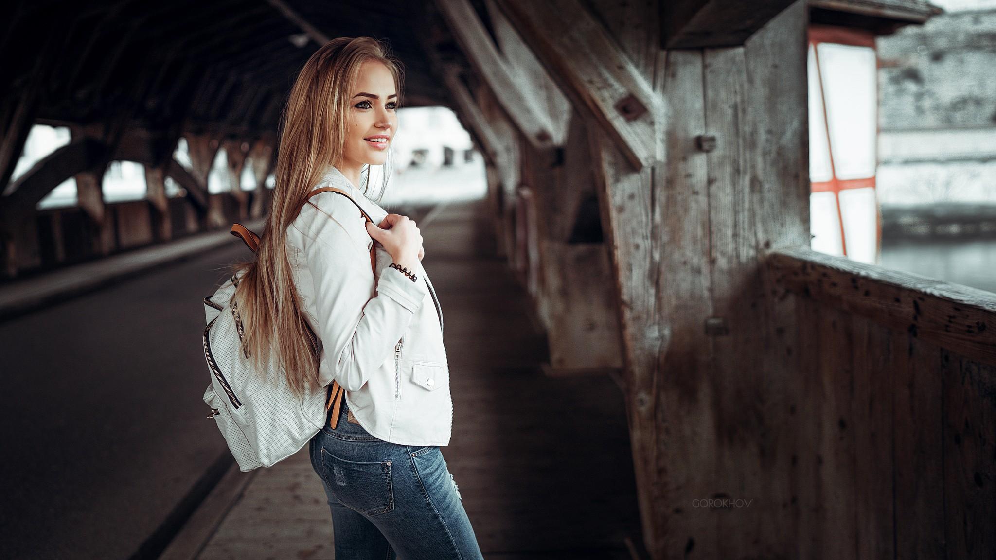 People 2048x1152 urban blonde long hair women model Maria Puchnina white jacket smiling straight hair Mary Jane Ivan Gorokhov Public young woman