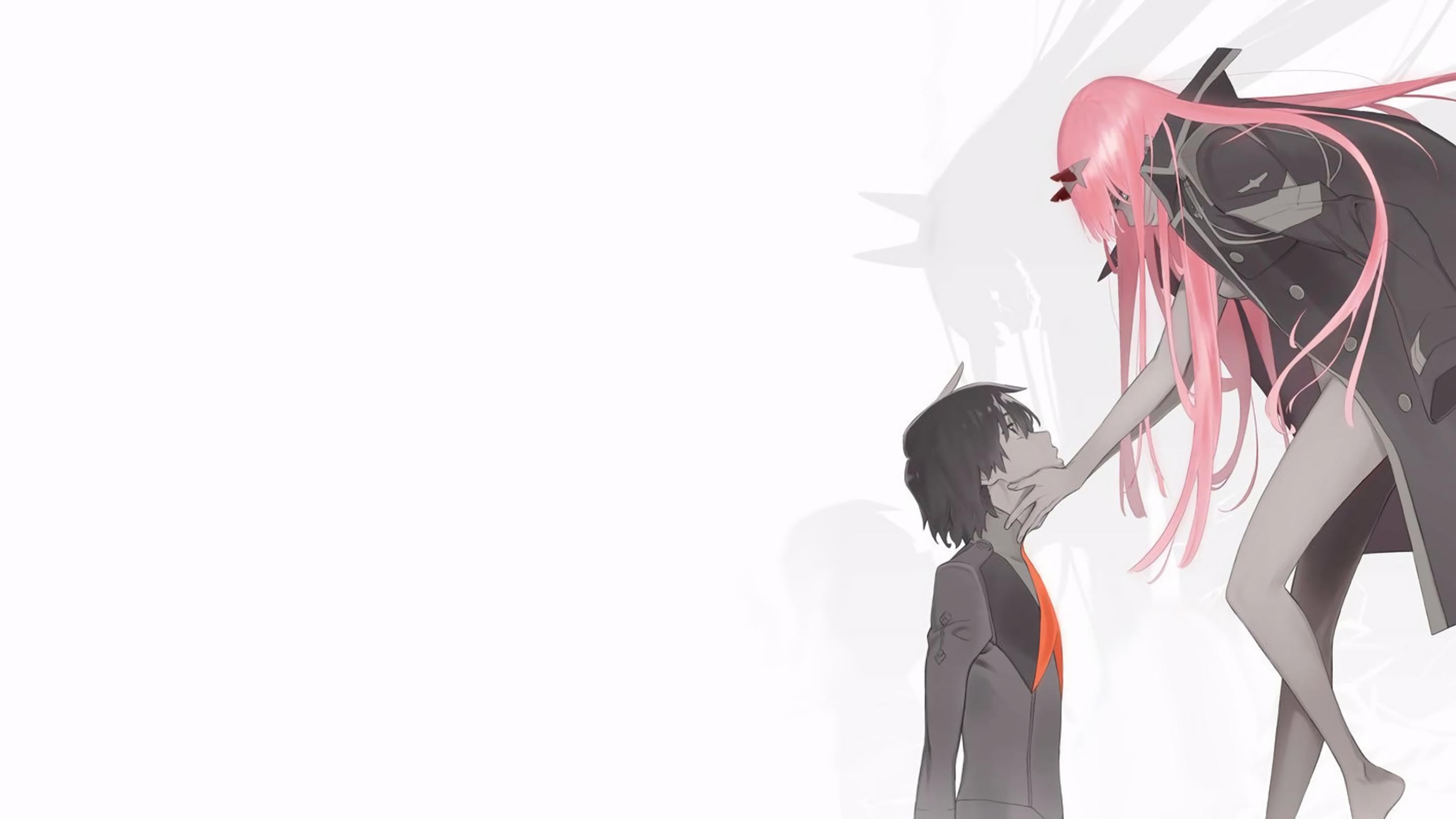 Anime 2844x1600 digital art artwork long hair anime anime girls pink hair Darling in the FranXX Code:016 (Hiro)  Code: 002(02) thighs horns anime boys simple background Zero Two (Darling in the FranXX)