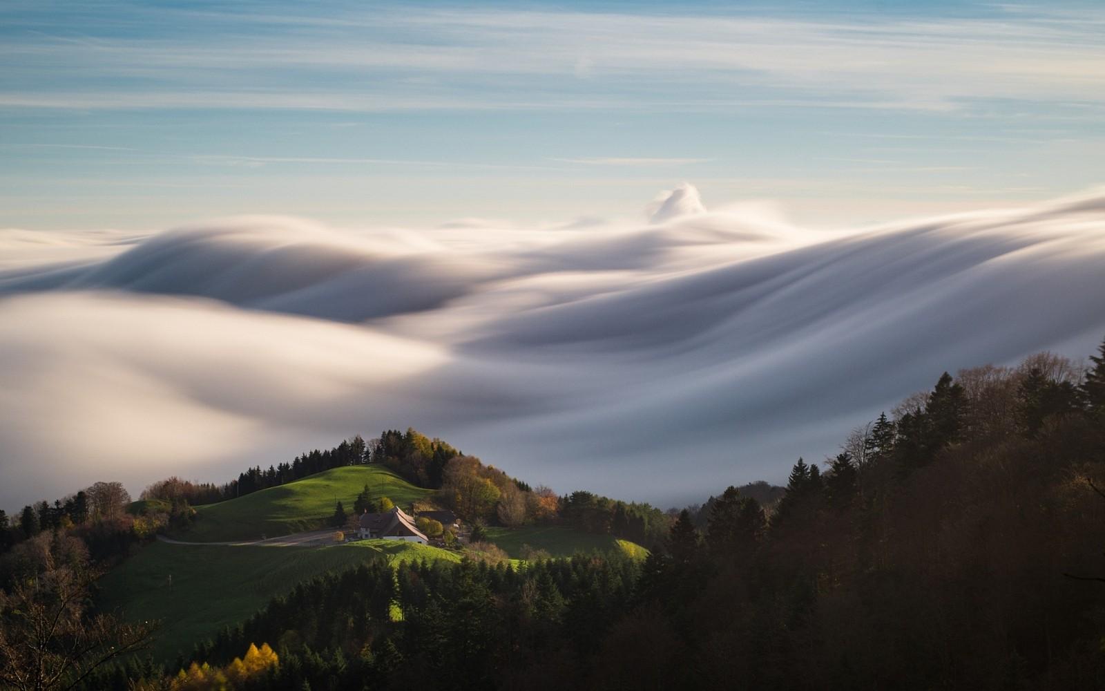 General 1600x1000 nature landscape hills forest grass sunlight clouds waves fall sunset house