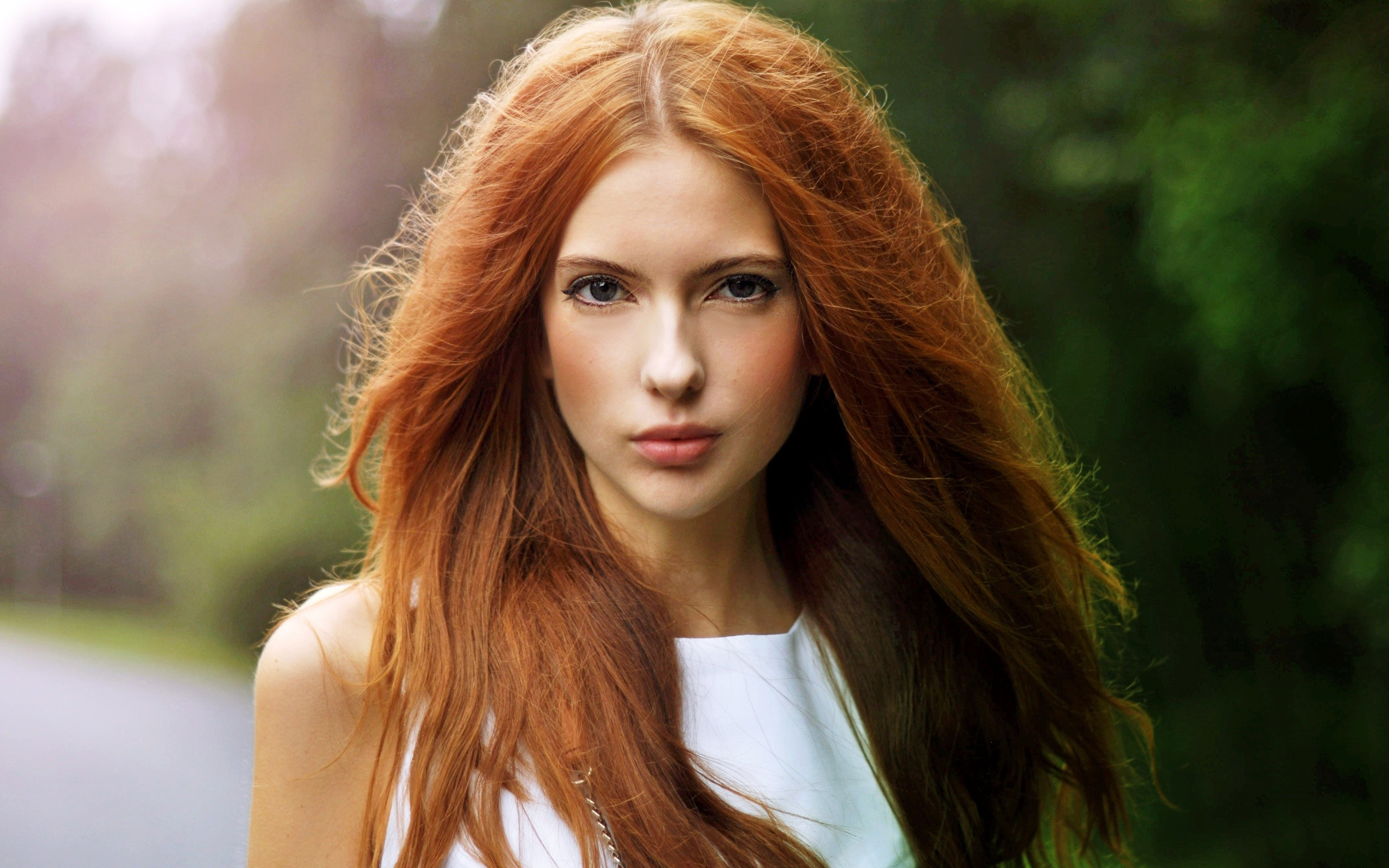 People 2560x1600 women redhead Ebba Zingmark model white clothing