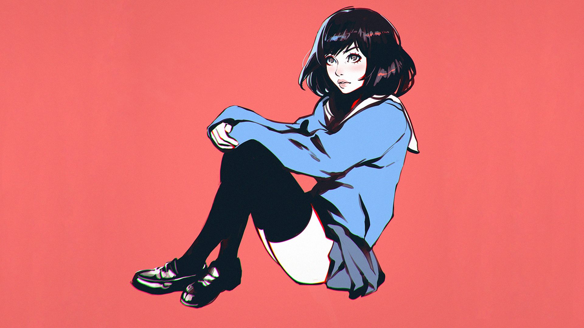 General 1920x1080 Ilya Kuvshinov drawing artwork simple background short hair women knee-highs school uniform