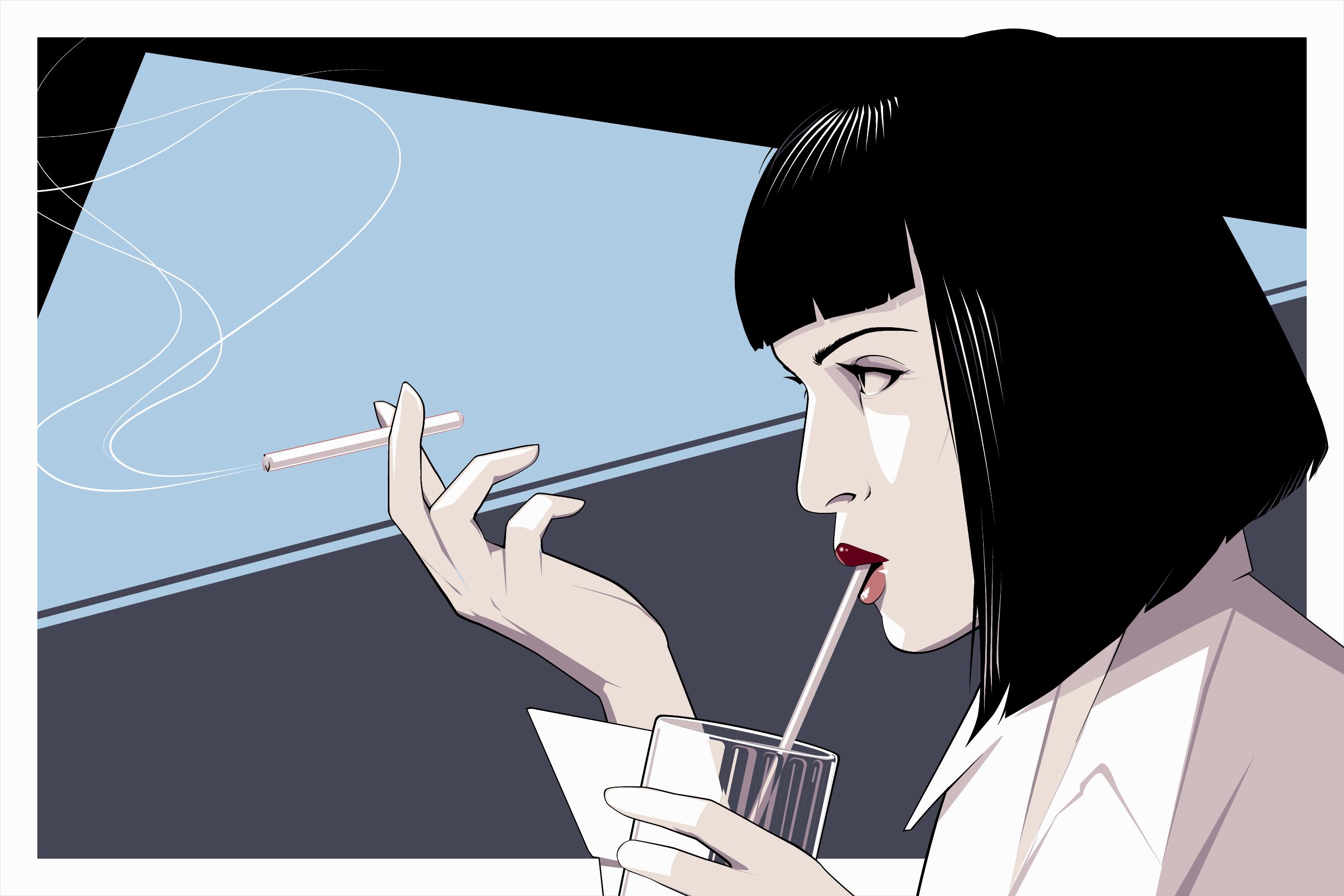 General 2592x1728 Pulp Fiction Uma Thurman Craig Drake Mia Wallace cigarettes fan art movies