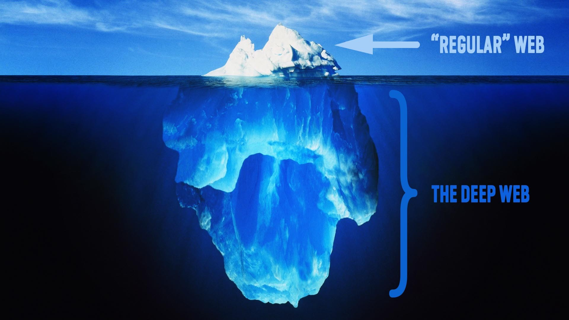 General 1920x1080 internet deep web iceberg digital art typography cyan underwater ice humor blue