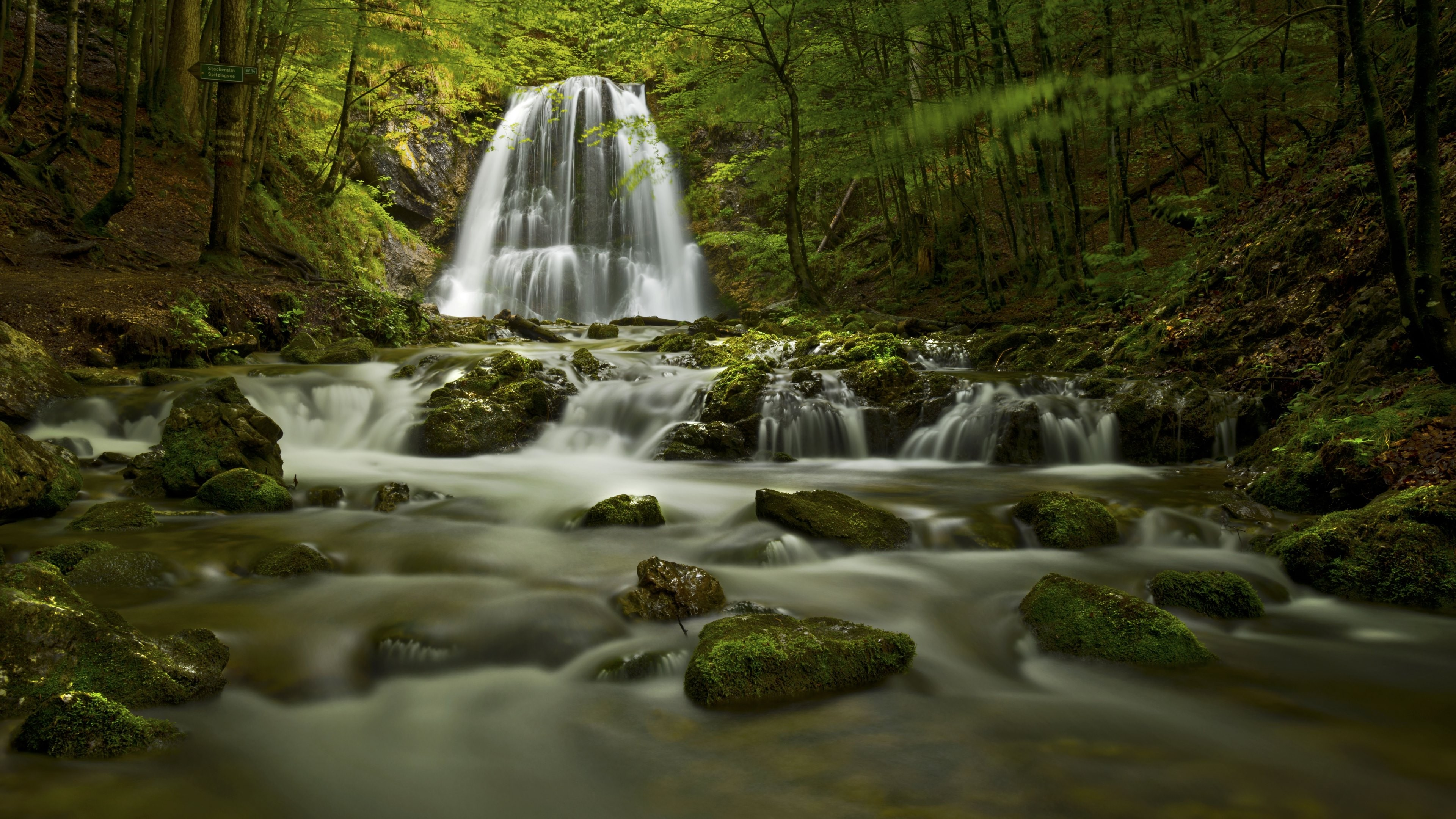 General 3840x2160 water rock nature forest waterfall trees