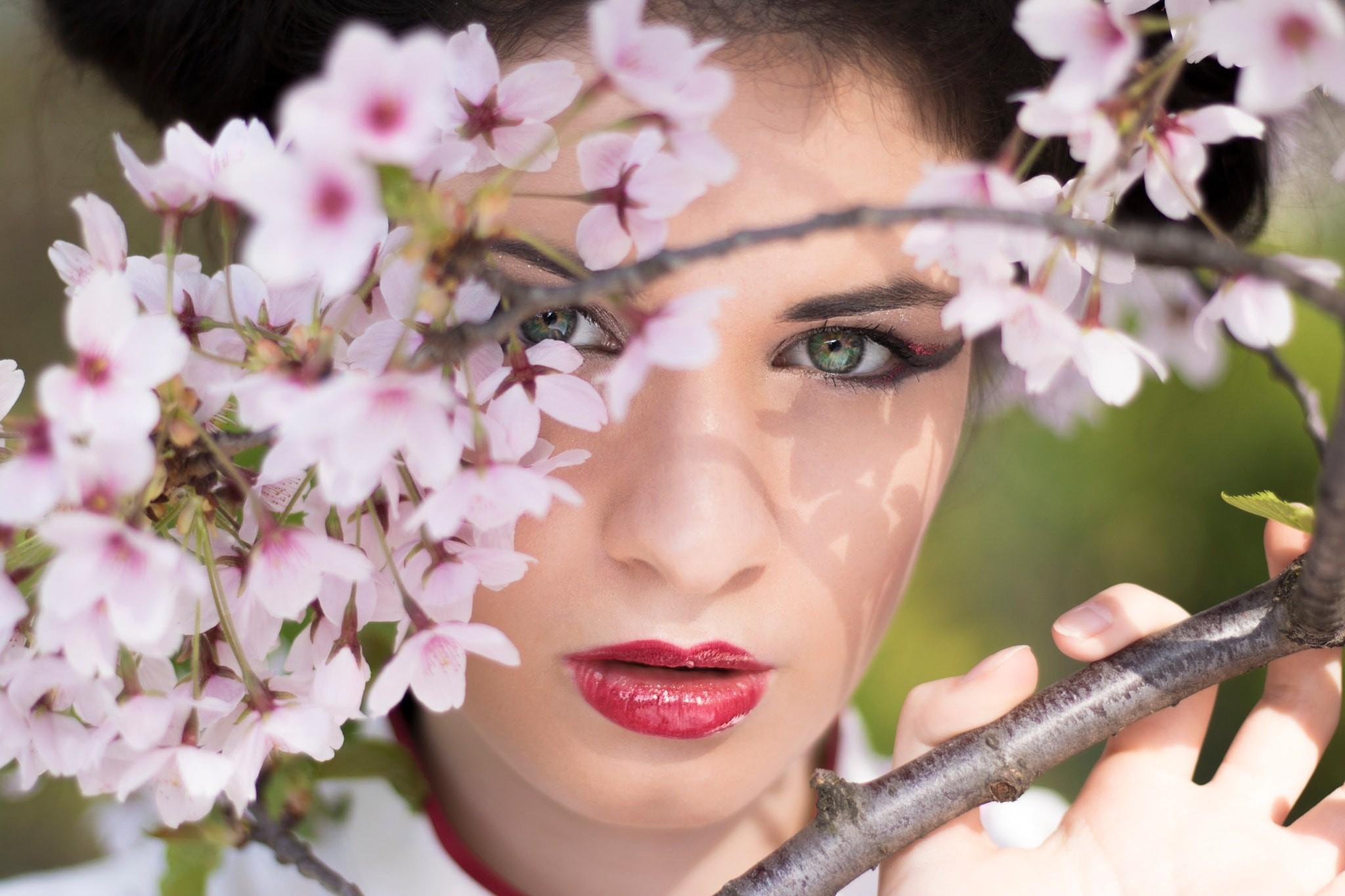 People 2048x1365 Peter Jordanoff cherry blossom women face model