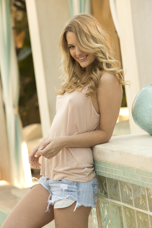 People 3840x5760 Kenna James women MetArt Magazine model blonde jean shorts smiling looking at viewer tank top nipples through clothing perky breasts pornstar