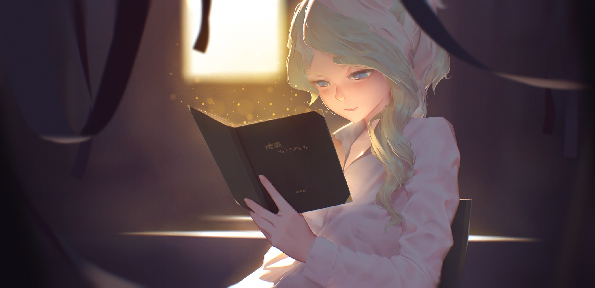 Anime 2064x1000 Little Witch Academia Cavendish Diana anime girls blonde blue eyes books reading anime