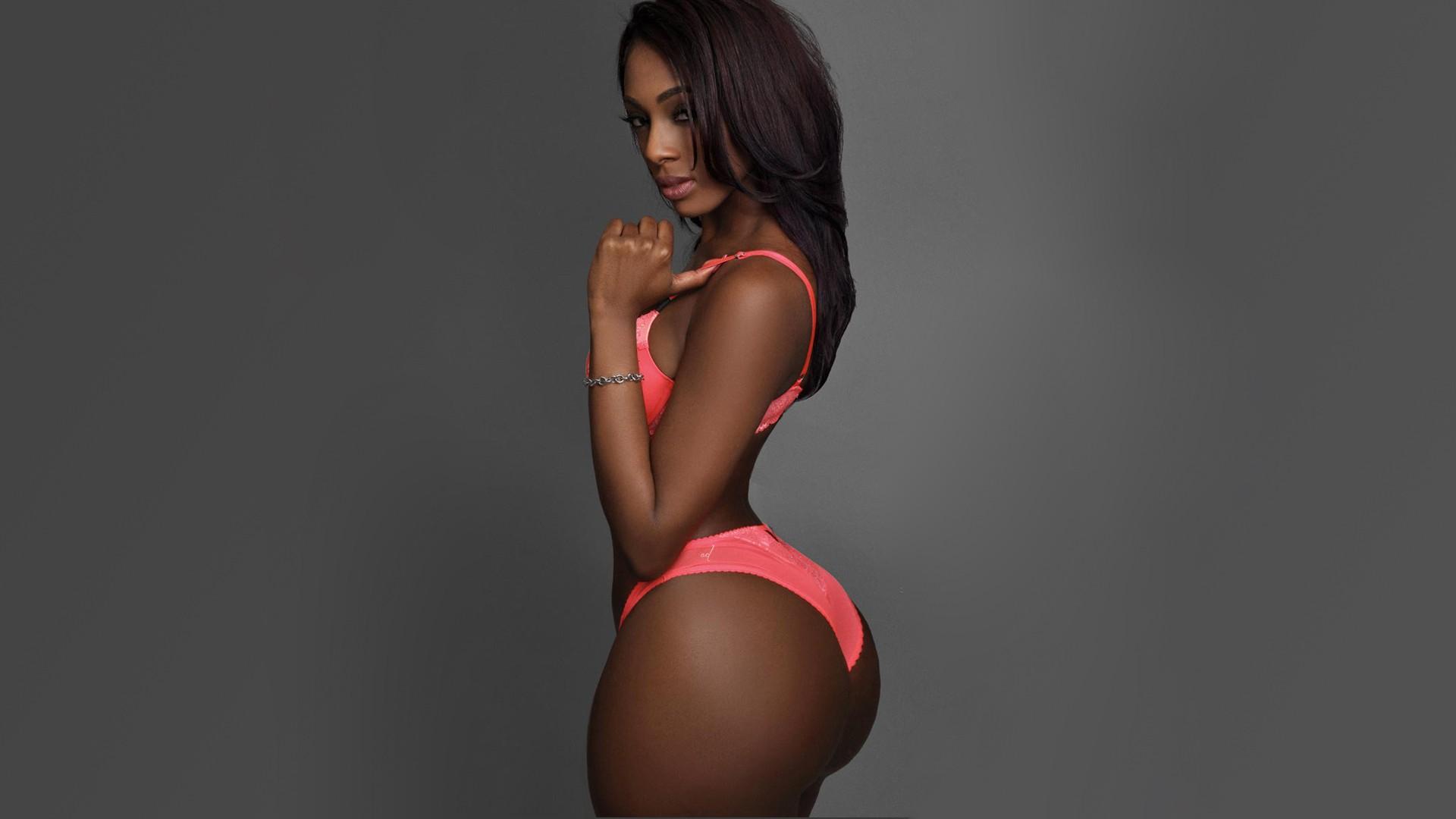 People 1920x1080 Brooke Show model brunette ass gray background ebony lingerie pink lingerie bra panties arched back