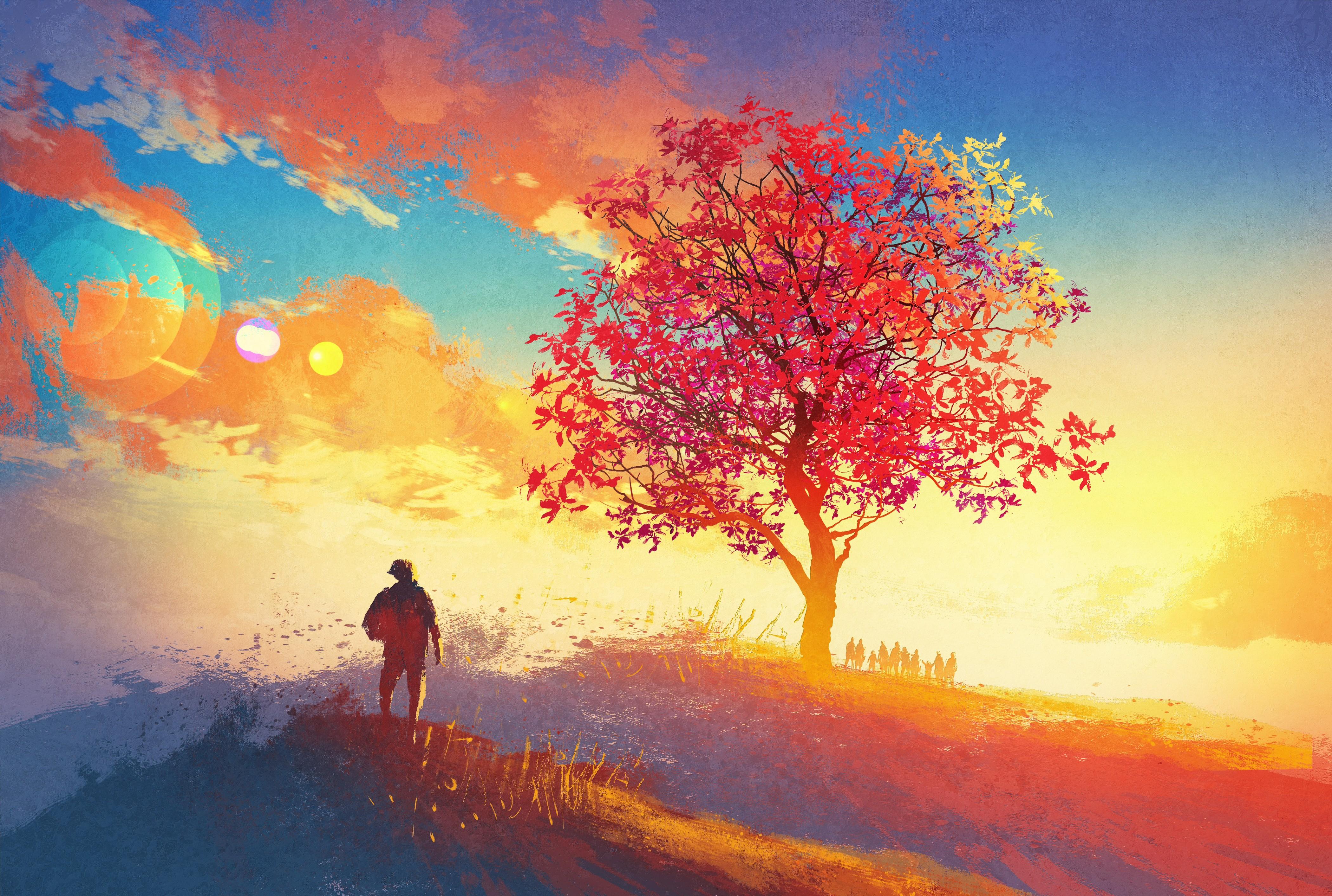 General 4200x2828 artwork colorful sunrise sky red leaves