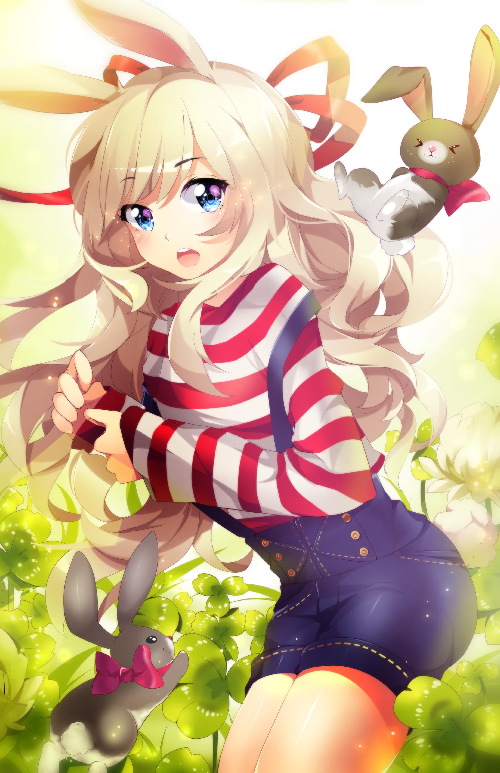 Anime 1618x2500 anime anime girls shorts rabbits long hair blonde blue eyes bunny ears