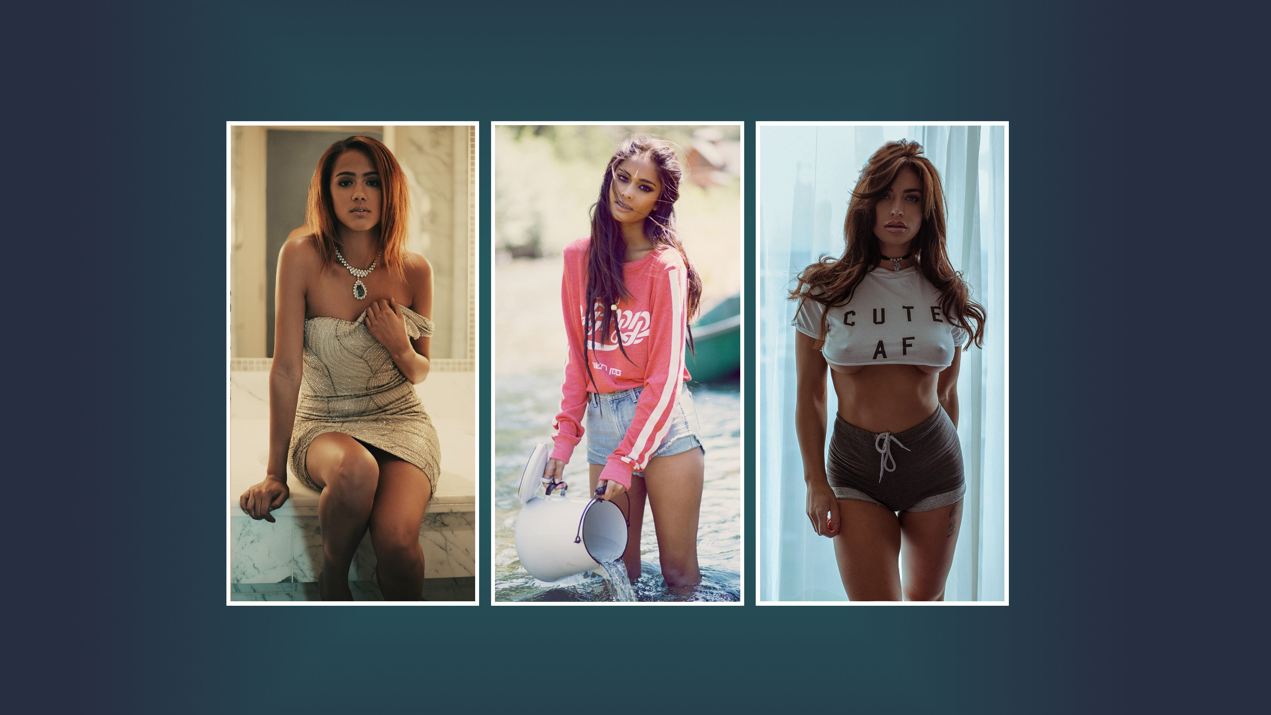 People 2560x1440 collage model water nipples necklace jean shorts sitting boobs