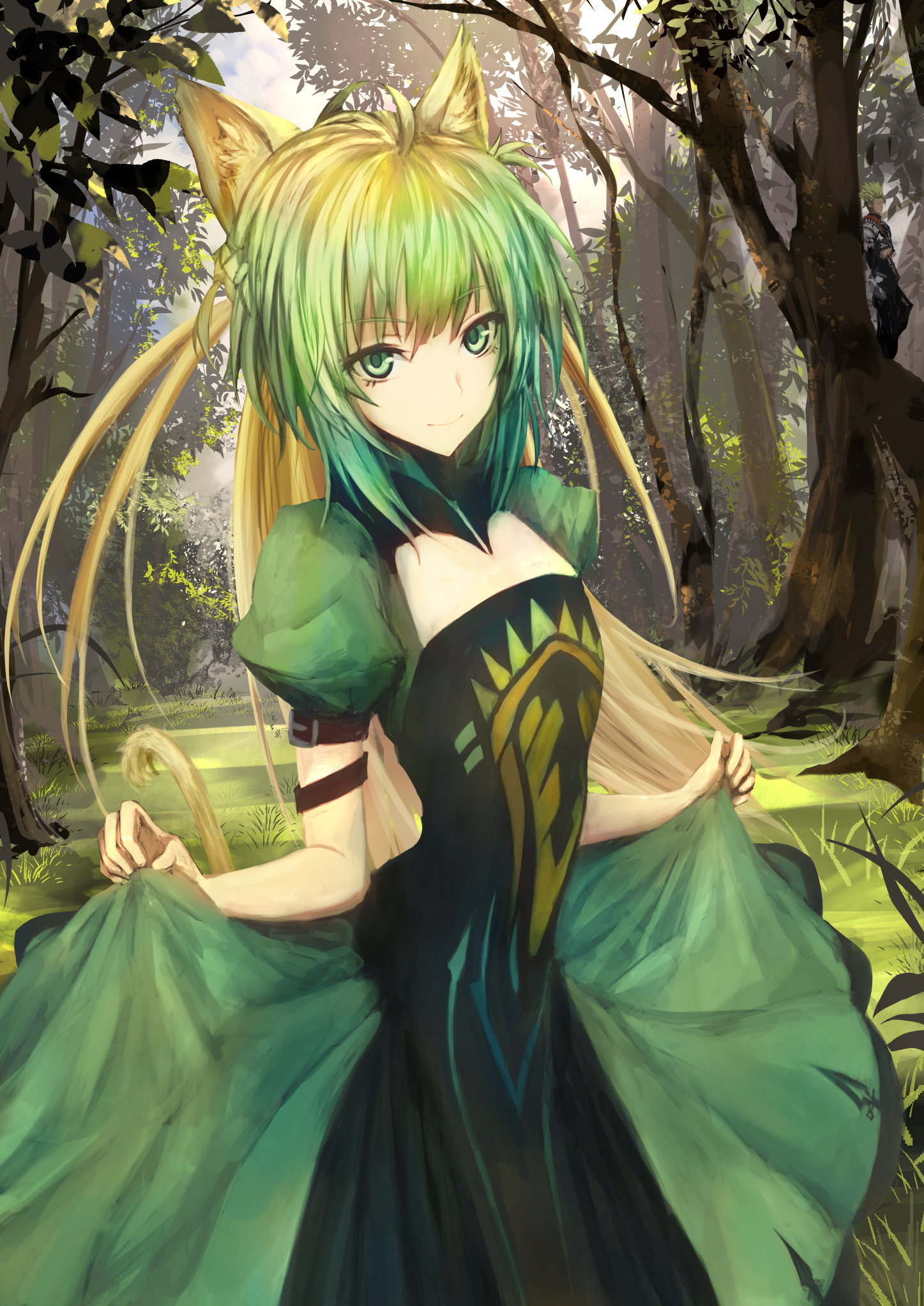 Anime 1447x2046 anime anime girls Fate/Grand Order Fate/Apocrypha  long hair green hair green eyes animal ears forest Atalanta (Fate/Grand Order)