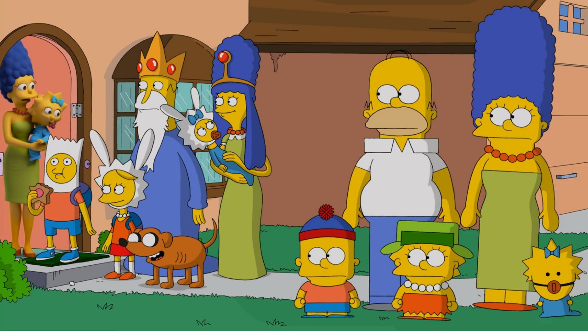General 1920x1080 The Simpsons South Park Adventure Time Marge Simpson Maggie Simpson Lisa Simpson Bart Simpson Homer Simpson crossover