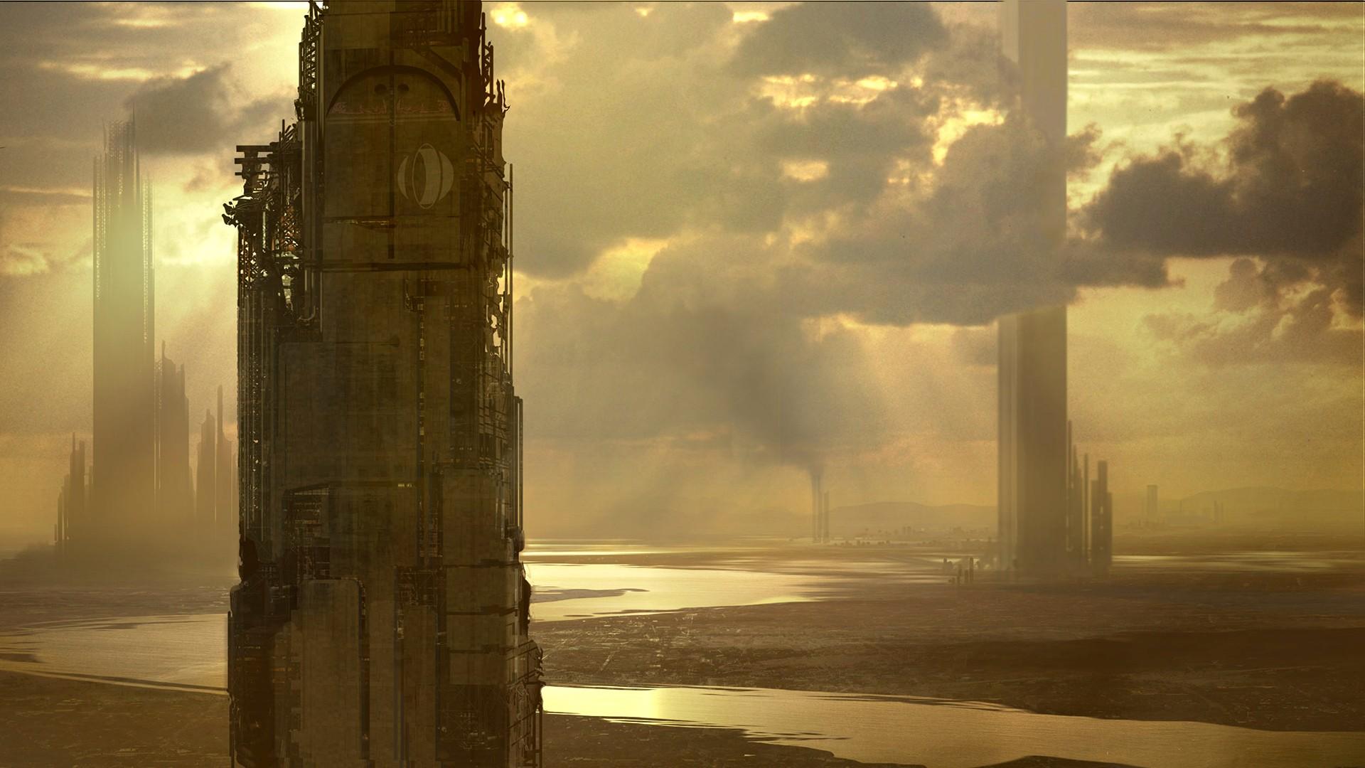 General 1920x1080 cyberpunk futuristic science fiction sky